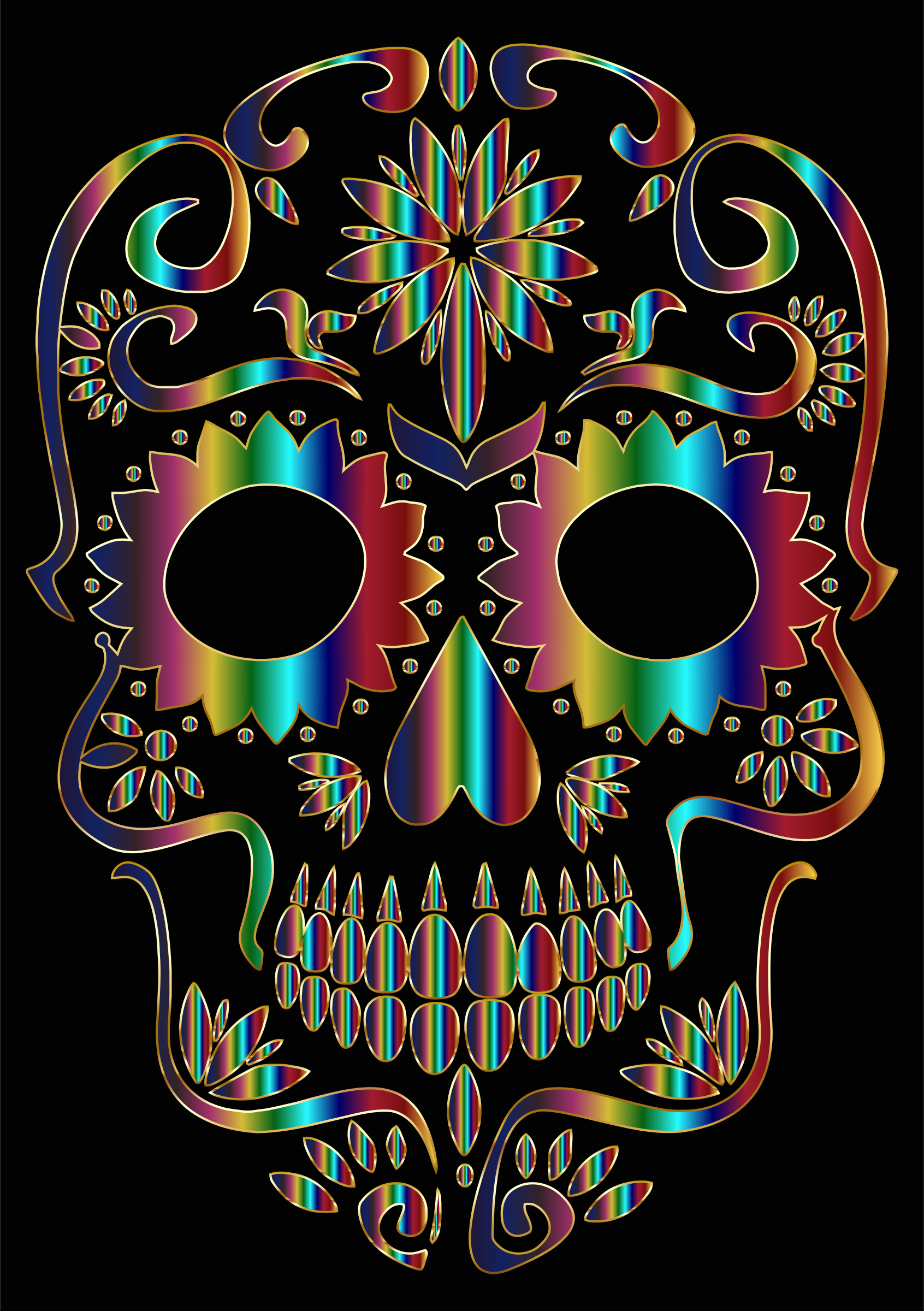 Chromatic Sugar Skull Silhouette 3 by GDJ