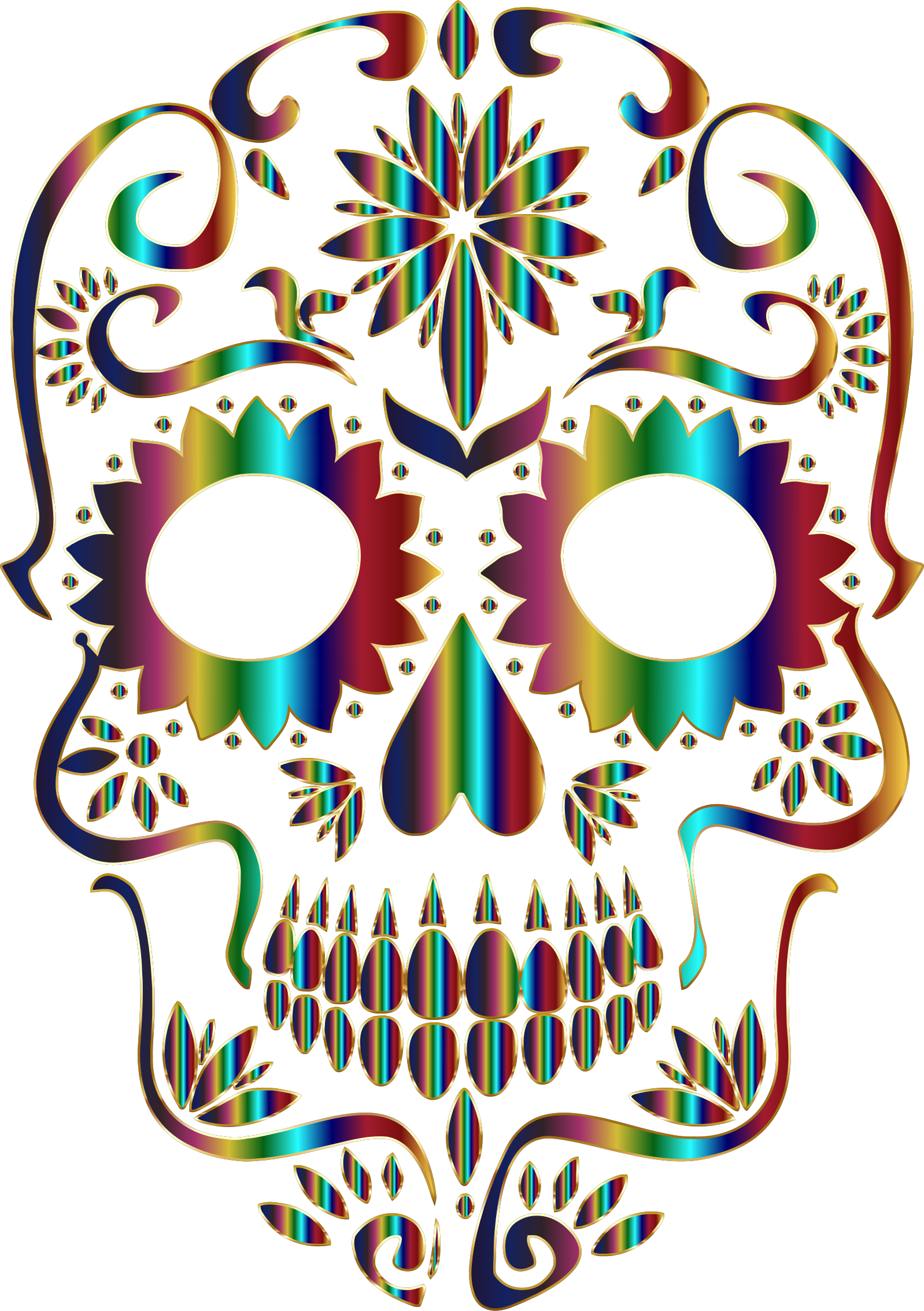 Chromatic Sugar Skull Silhouette 3 No Background by GDJ