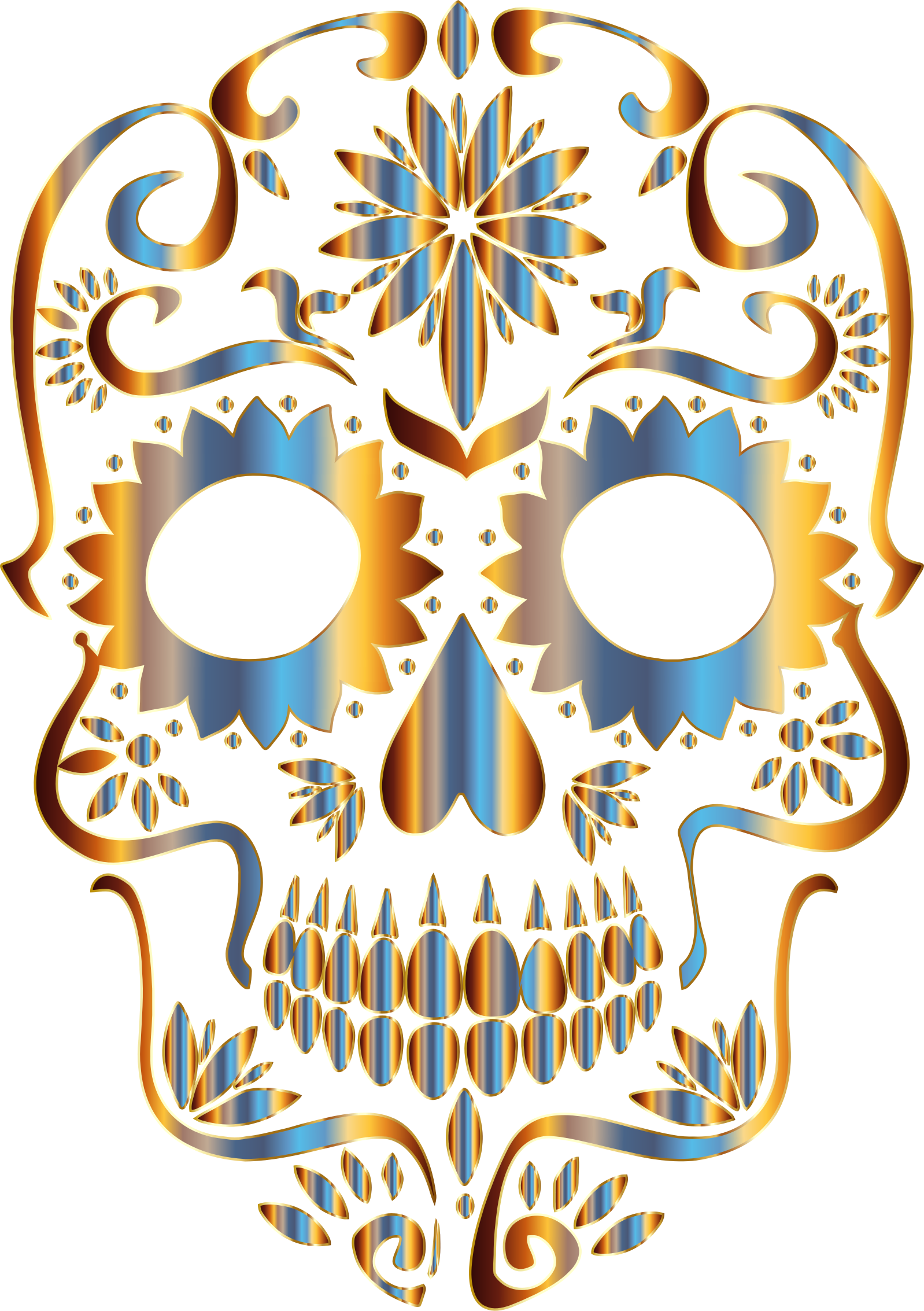 Chromatic Sugar Skull Silhouette 2 No Background by GDJ