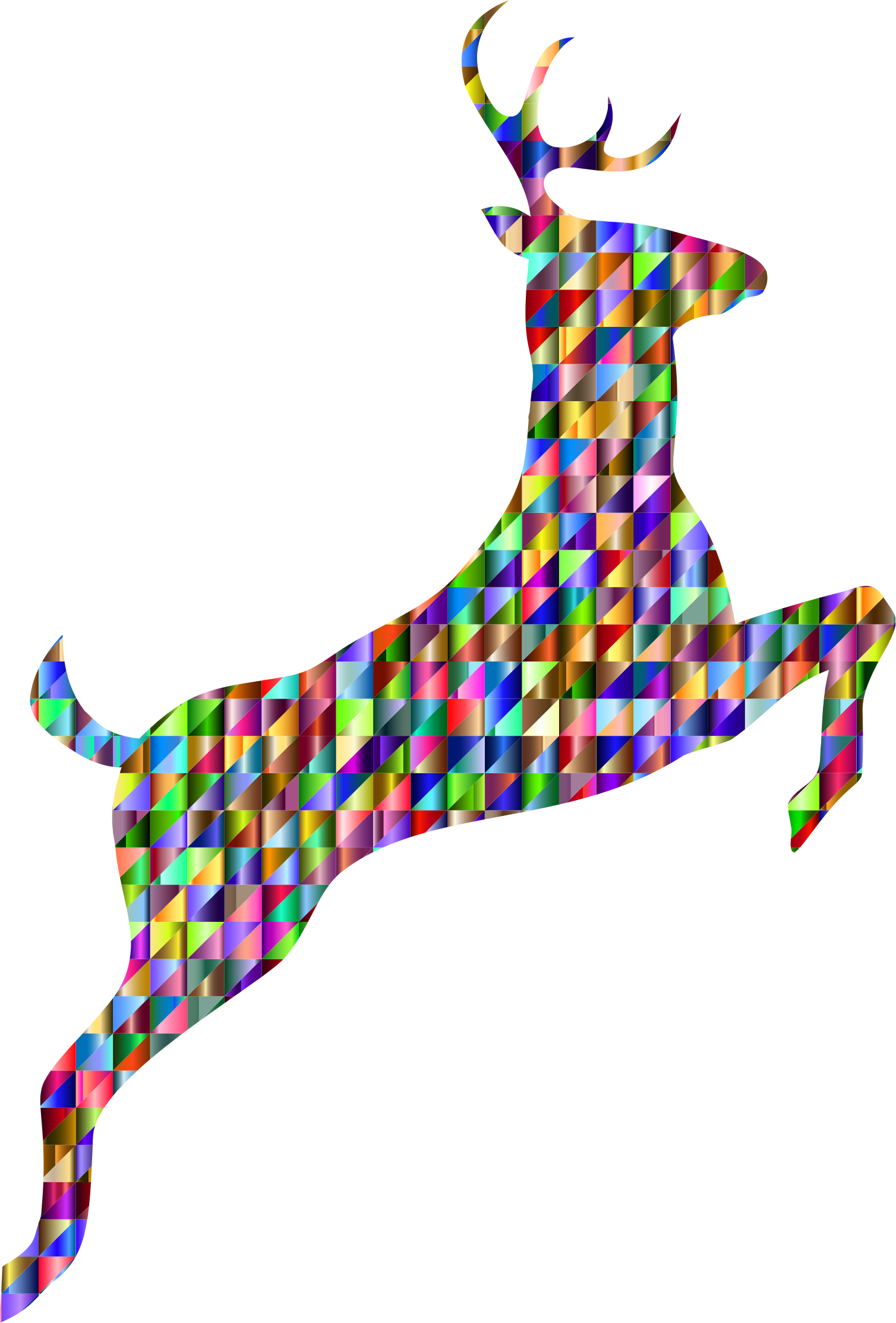 Low Poly Iridescent Leaping Deer Silhouette by GDJ