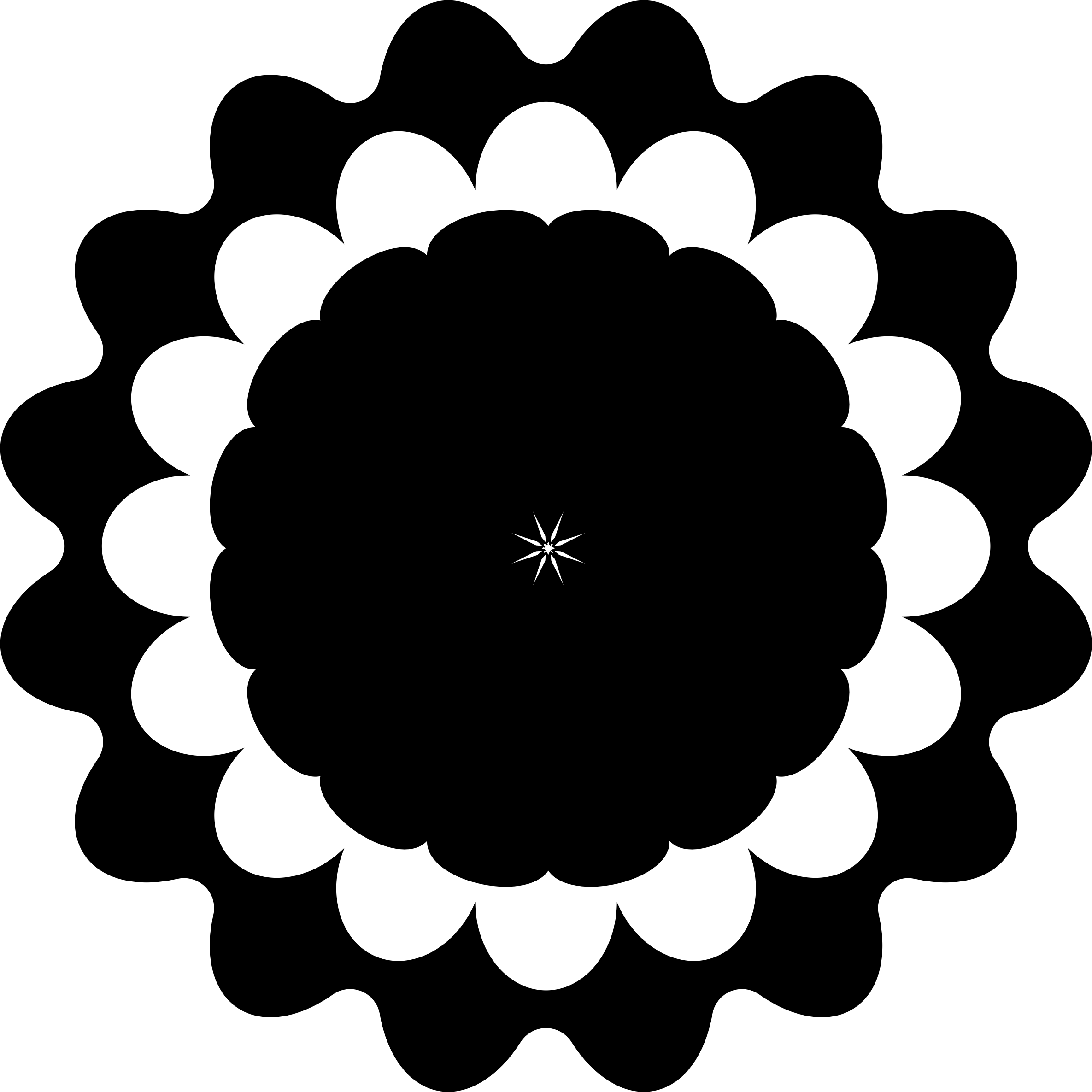 Flower Icon - Black and White by AdamStanislav