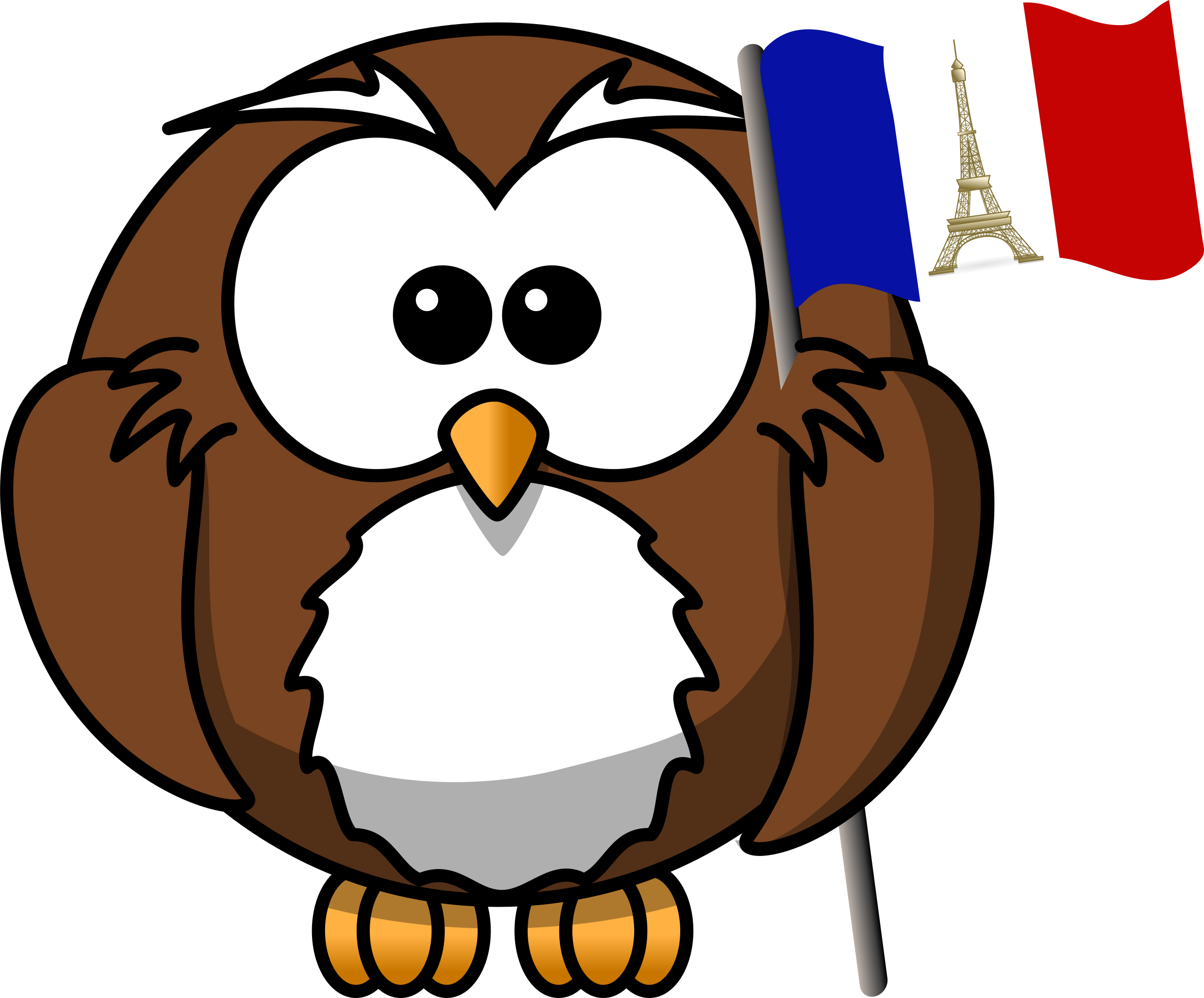 Owl with French flag by Iyo