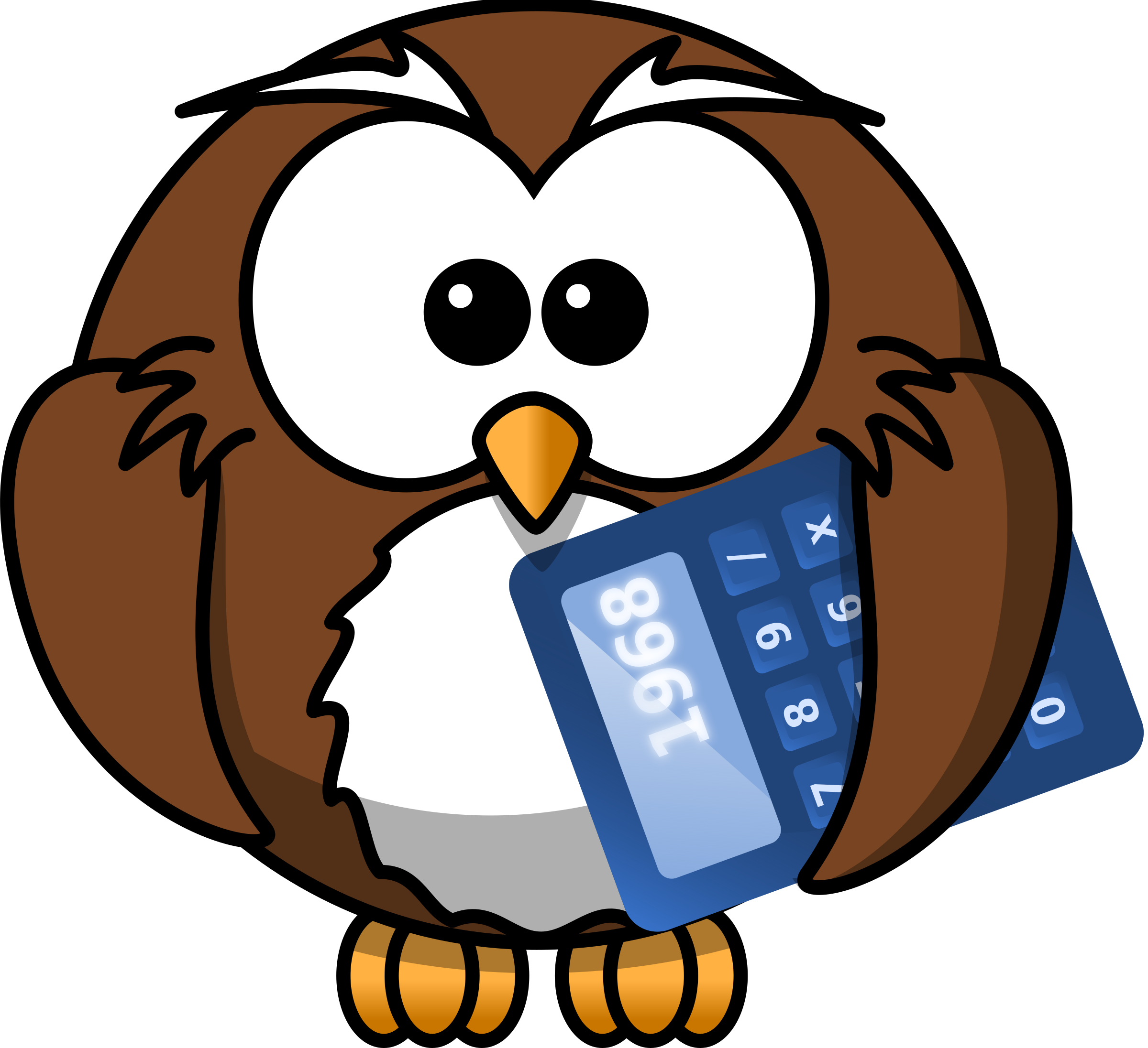 Owl with calculator by Iyo