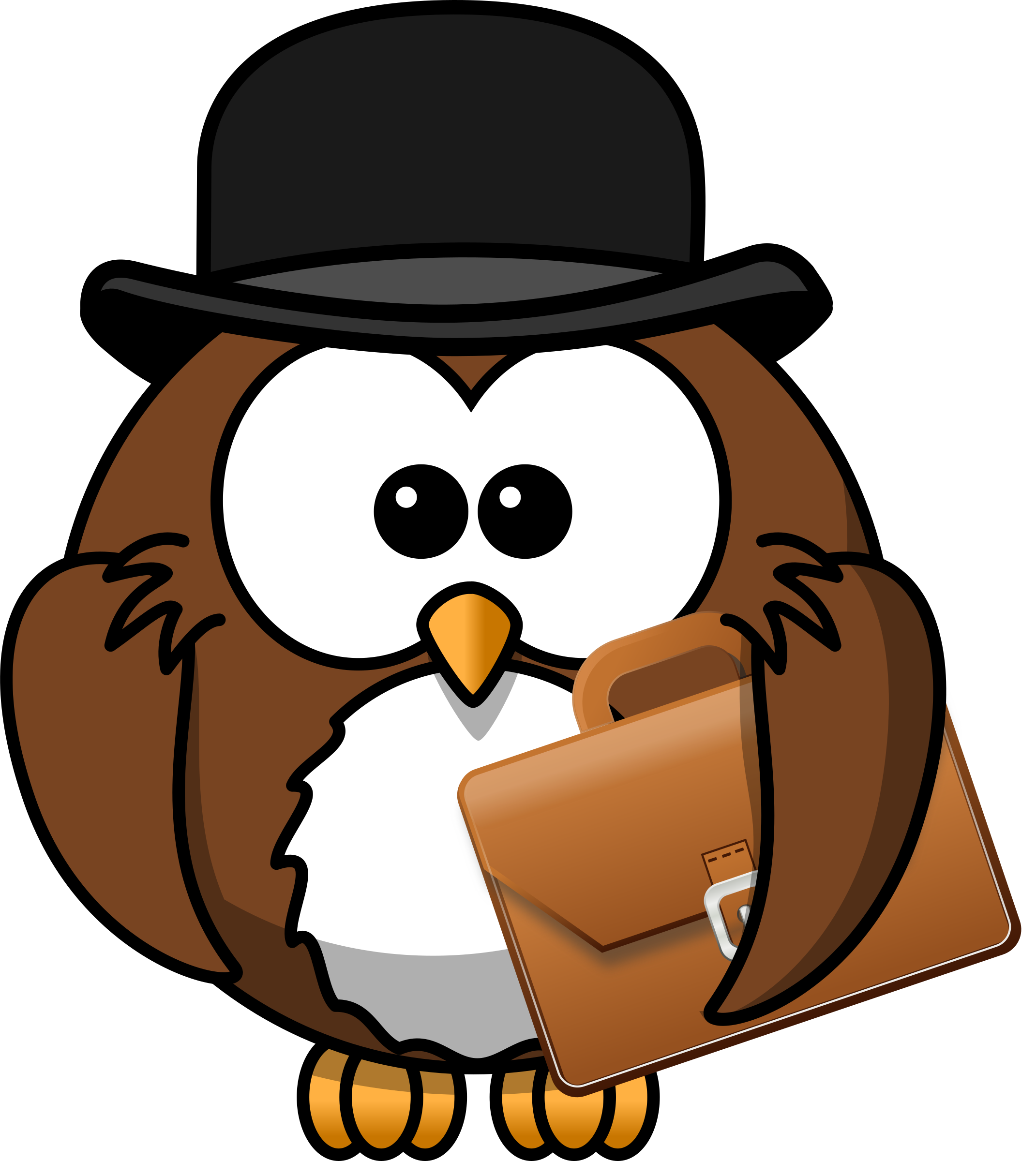 Owl with hat and briefcase by Iyo