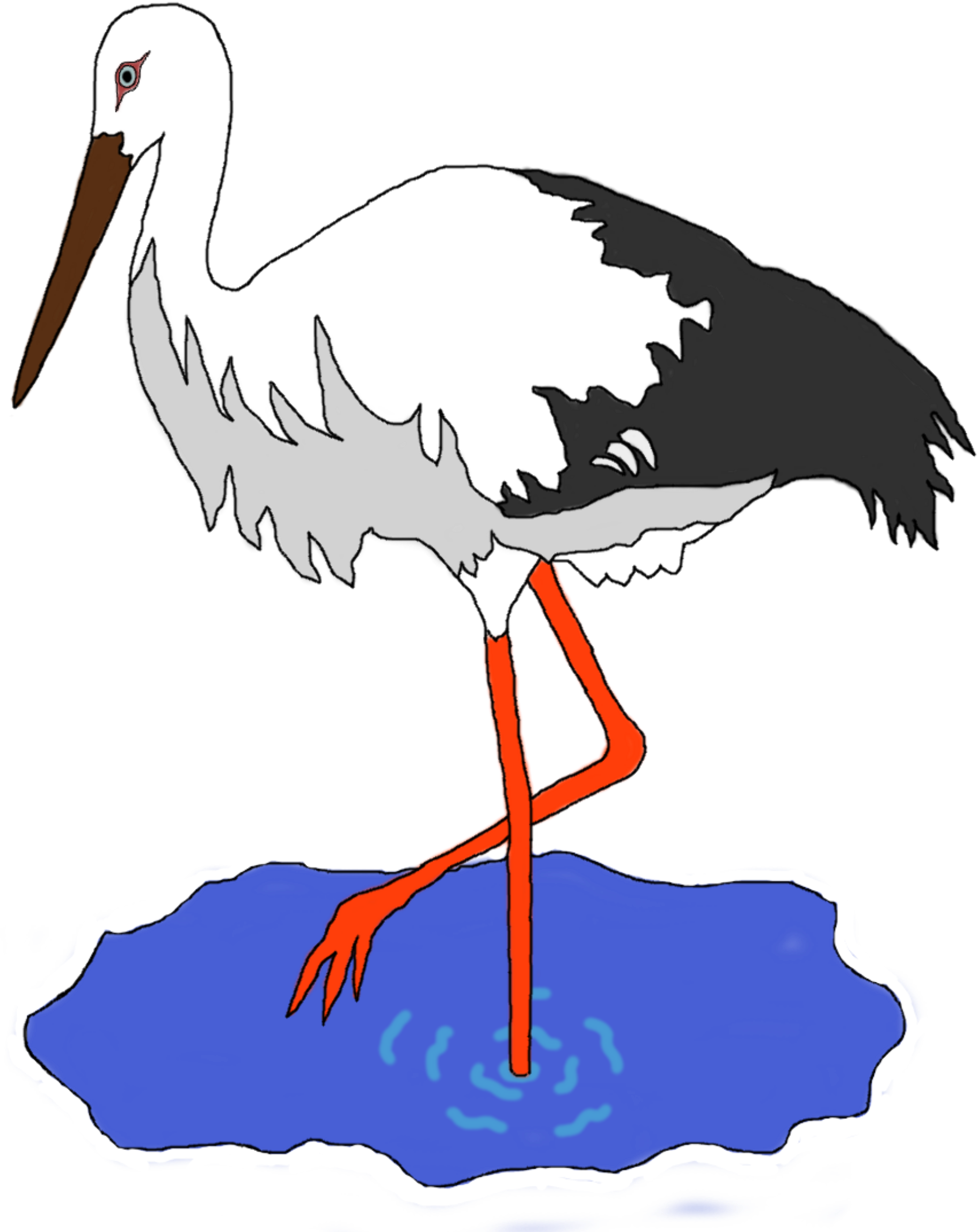 Stork in a pond by kress