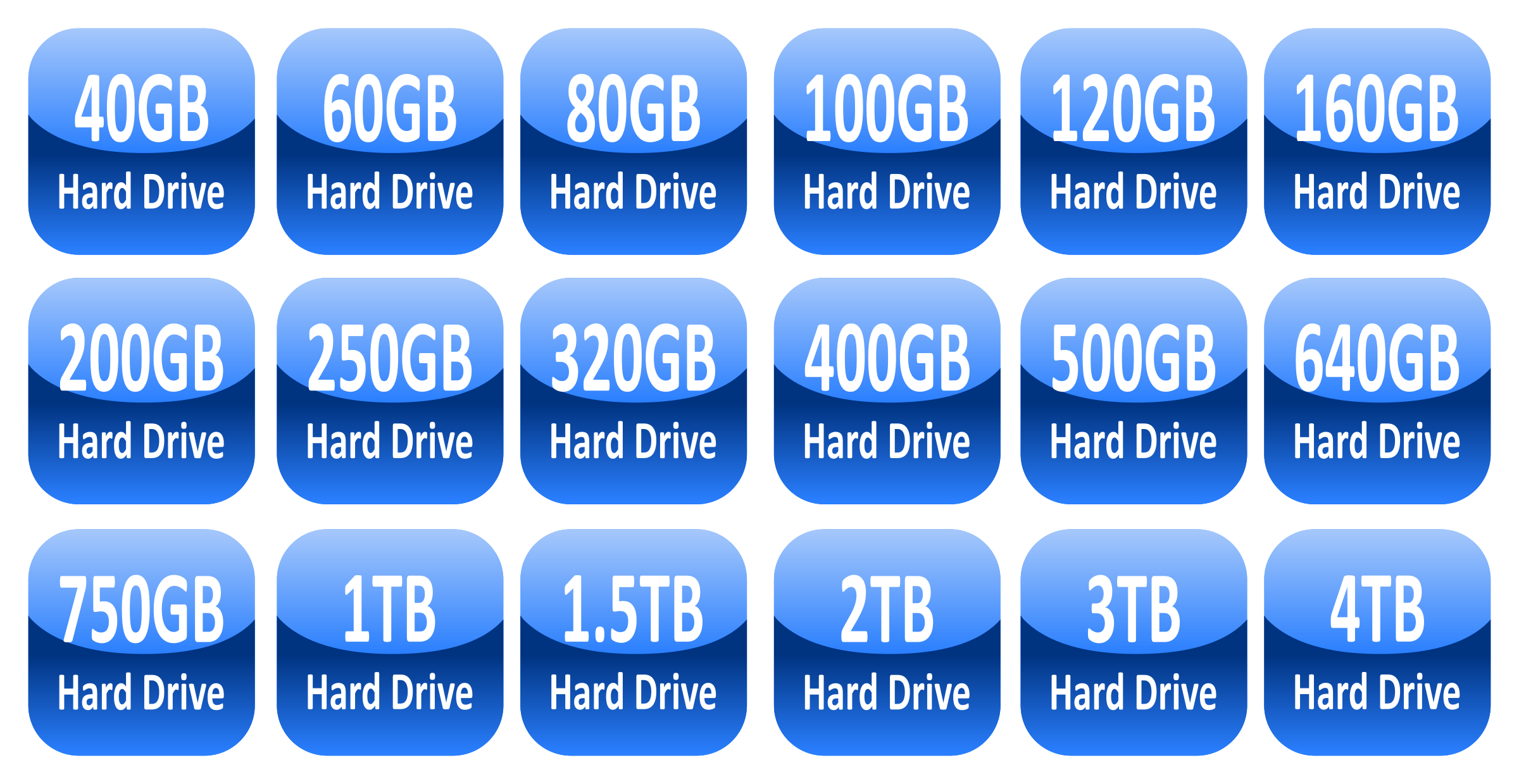 Hard drive capacity icons by jhnri4