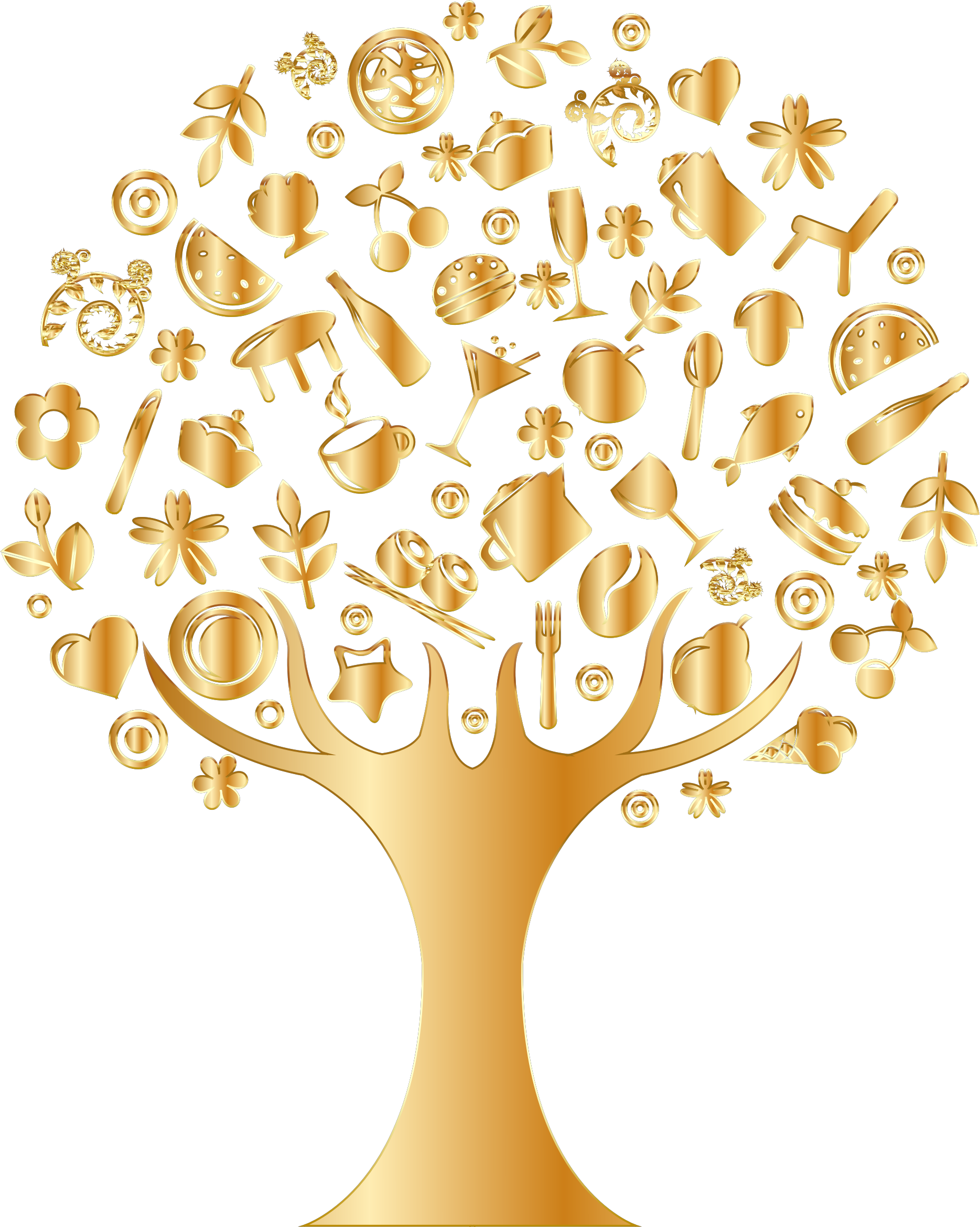 Gold Abstract Tree No Background by GDJ