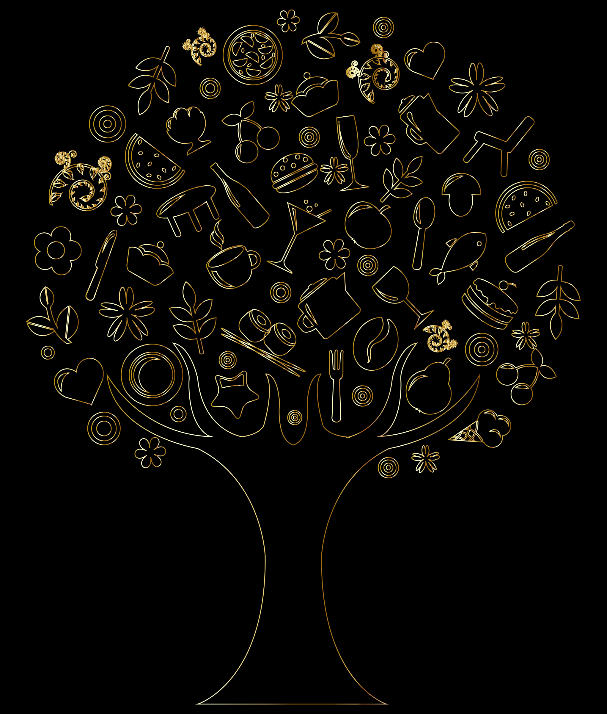 Gold Outline Abstract Tree by GDJ