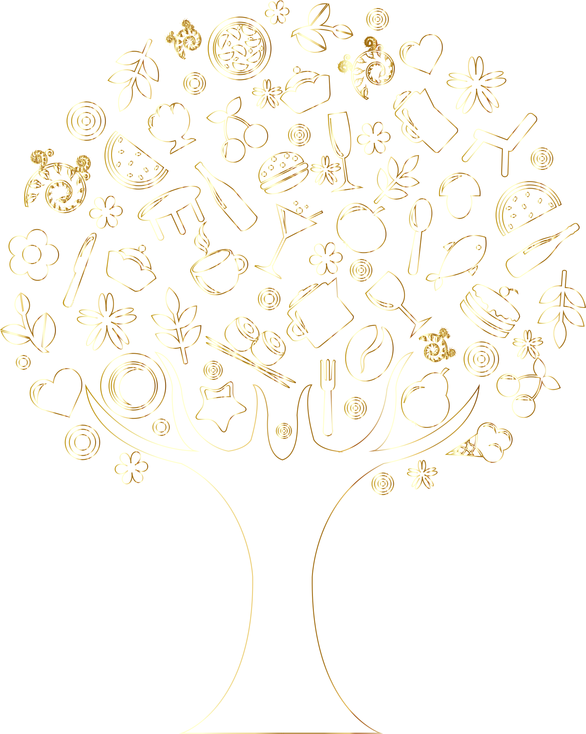 Gold Outline Abstract Tree No Background by GDJ