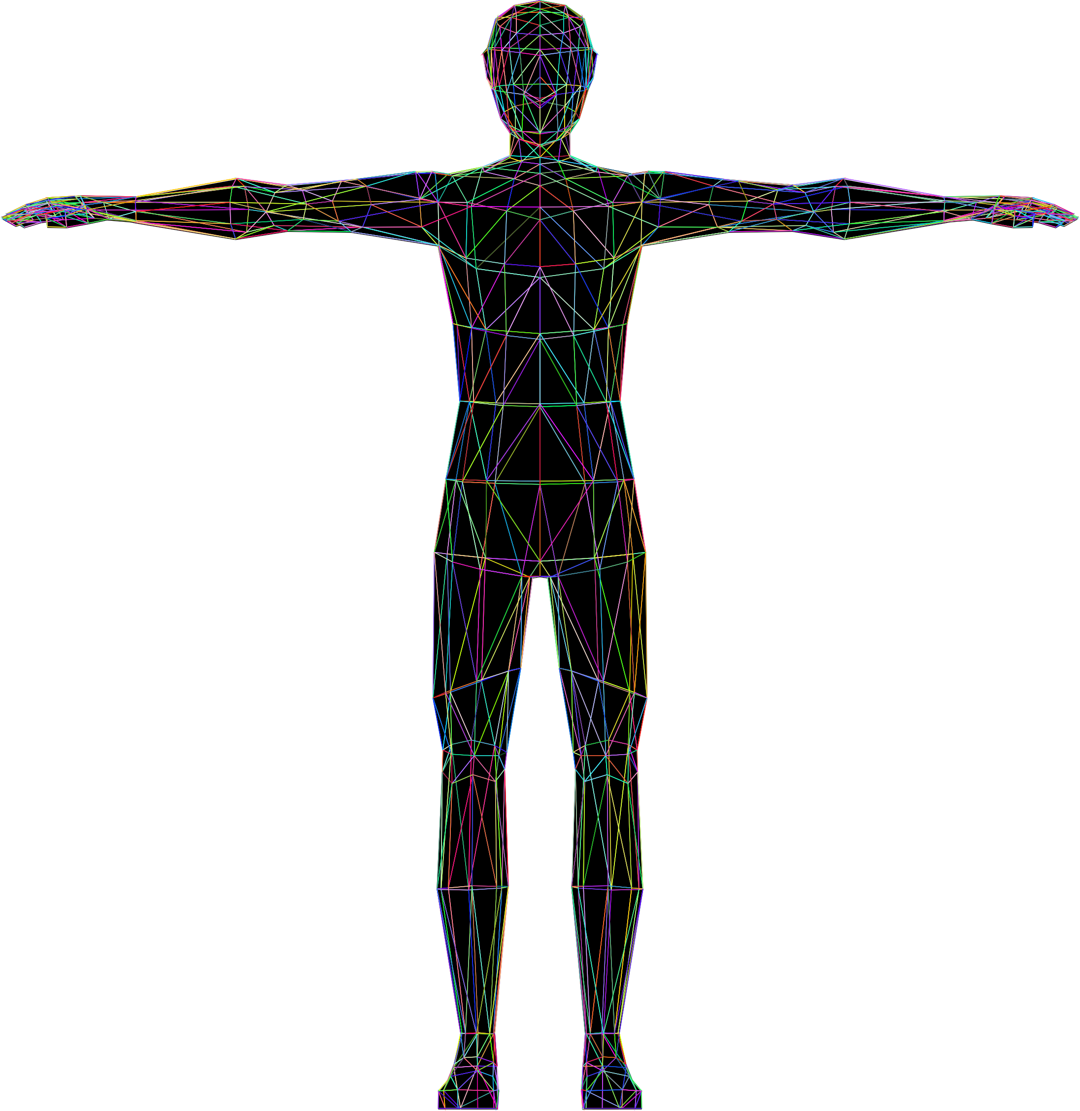 Clipart - Prismatic Low Poly Human Male Wireframe Human Body Icon Png