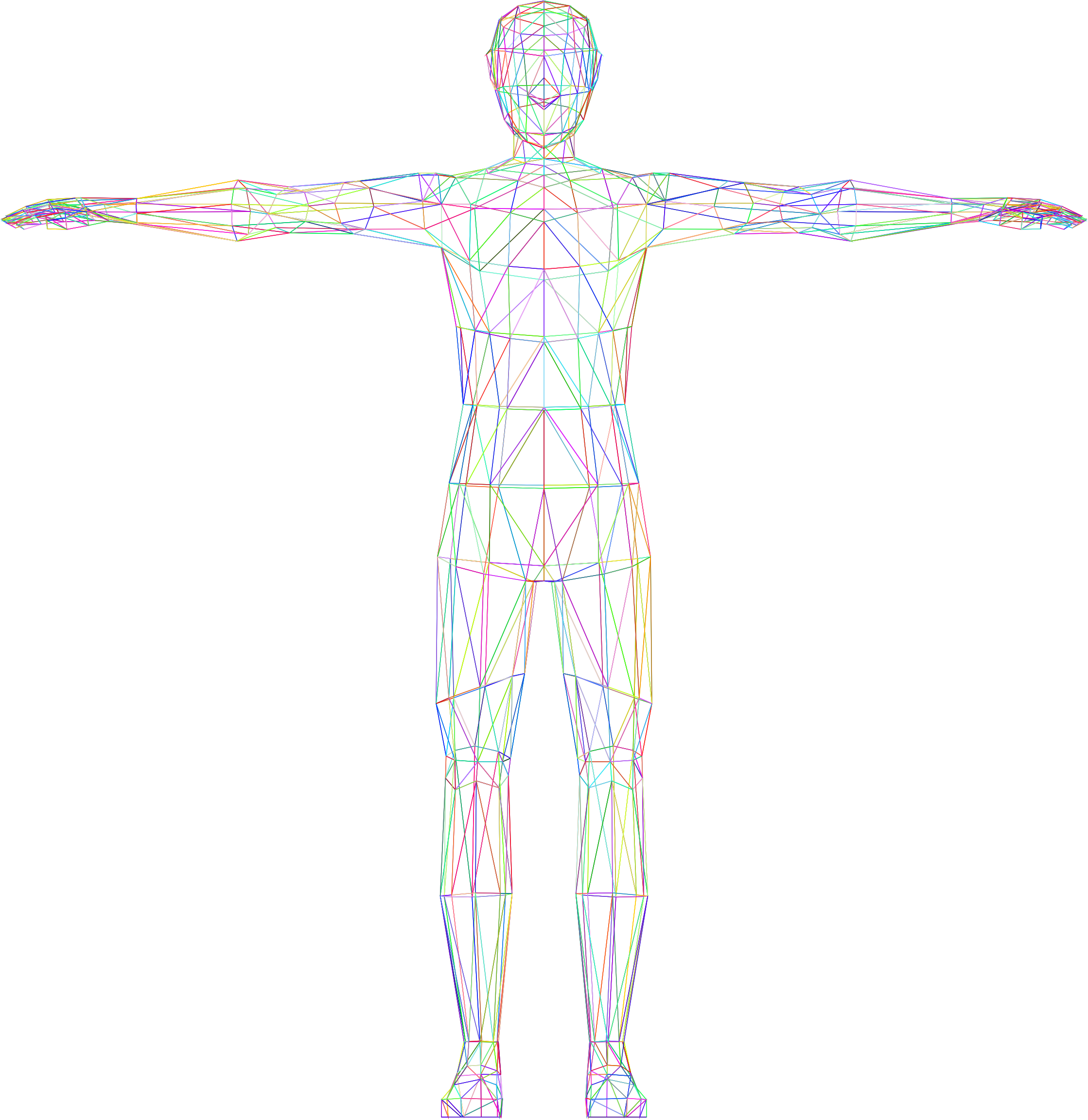 Prismatic Low Poly Human Male Wireframe No Background by GDJ