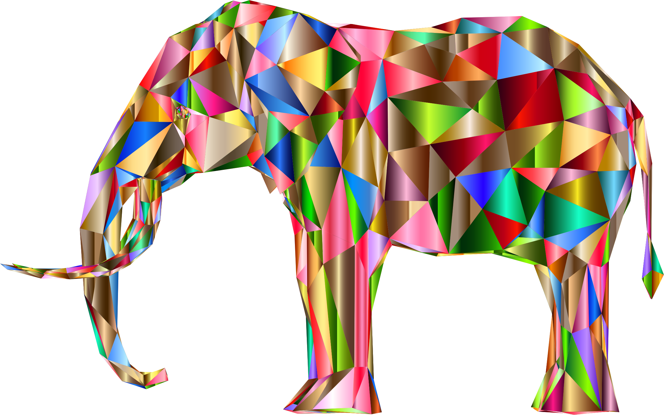 Prismatic Low Poly 3D Elephant Variation 5 by GDJ