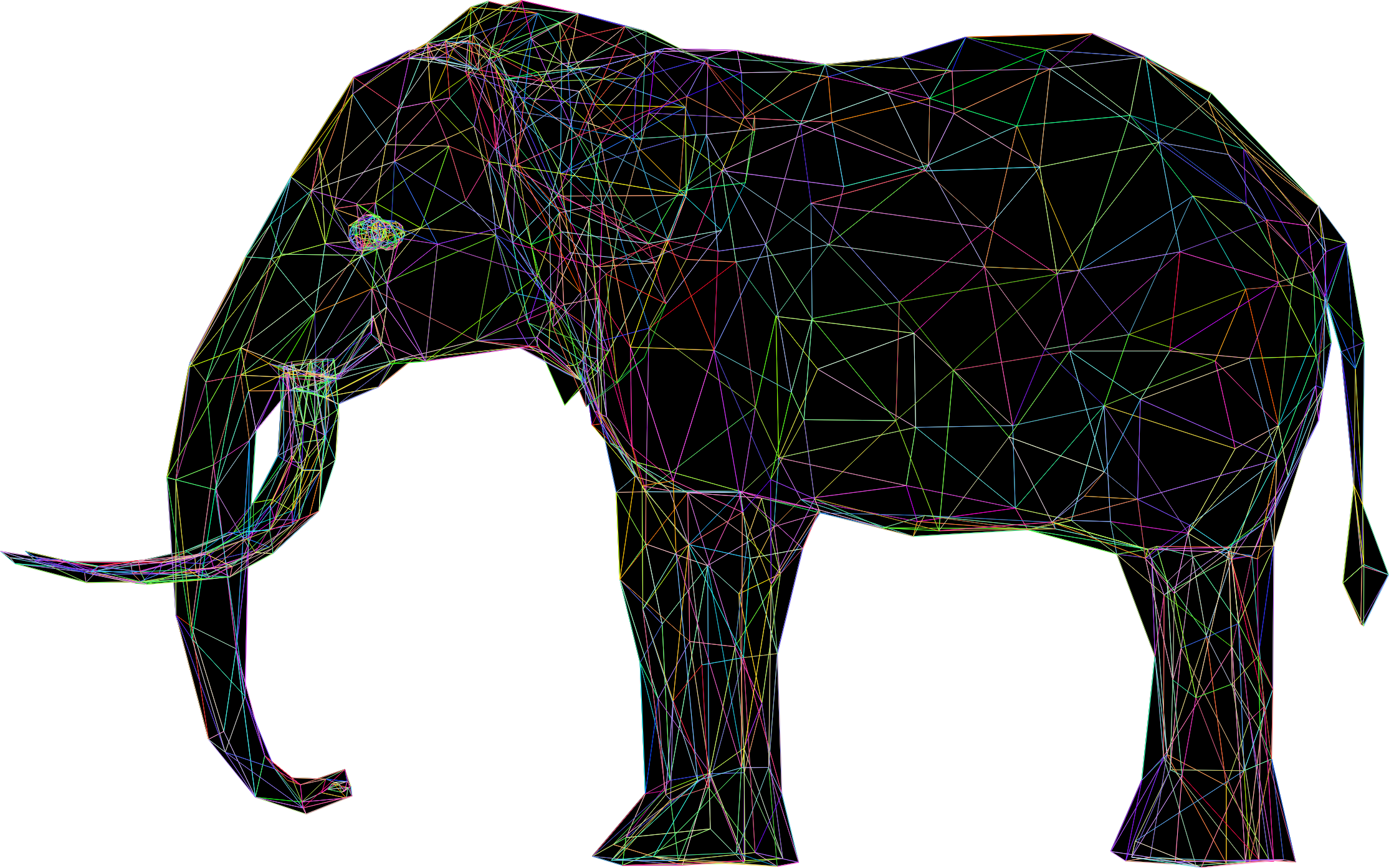 Prismatic Low Poly 3D Elephant Wireframe by GDJ