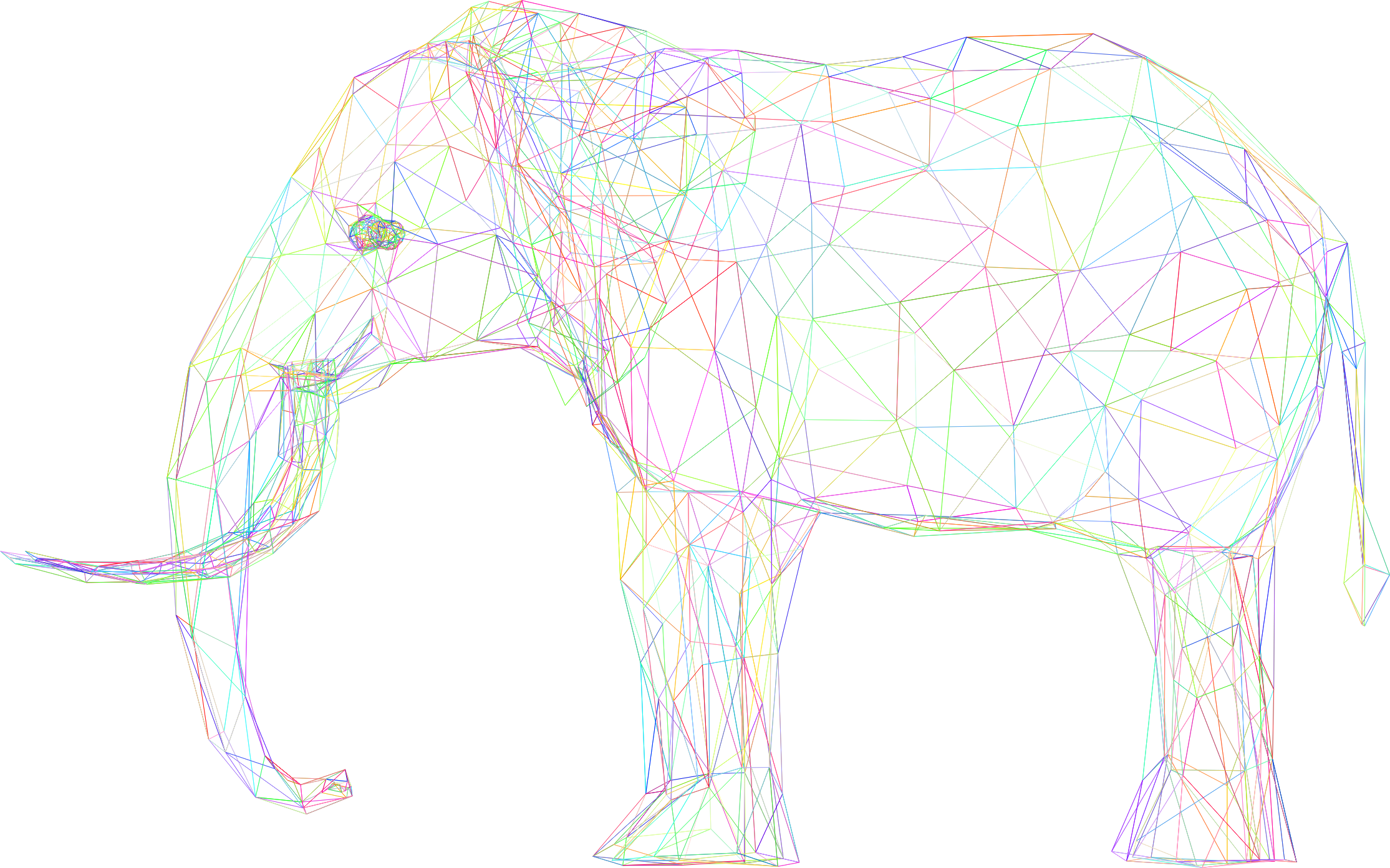 Prismatic Low Poly 3D Elephant Wireframe No Background by GDJ