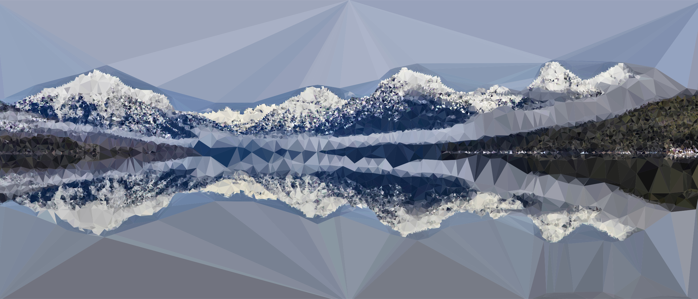 Low Poly Snow Capped Mountains Lake by GDJ