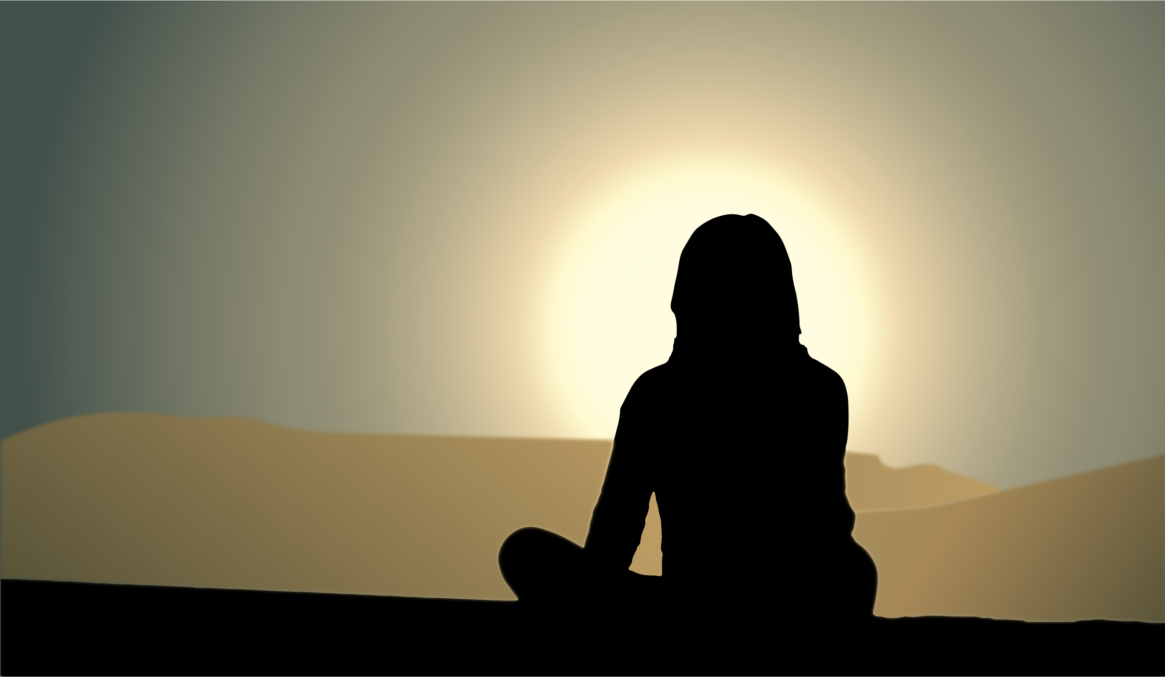 ... - Woman Sitting Sunset Silhouette People Sitting Silhouette Png White Drum Set Silhouette
