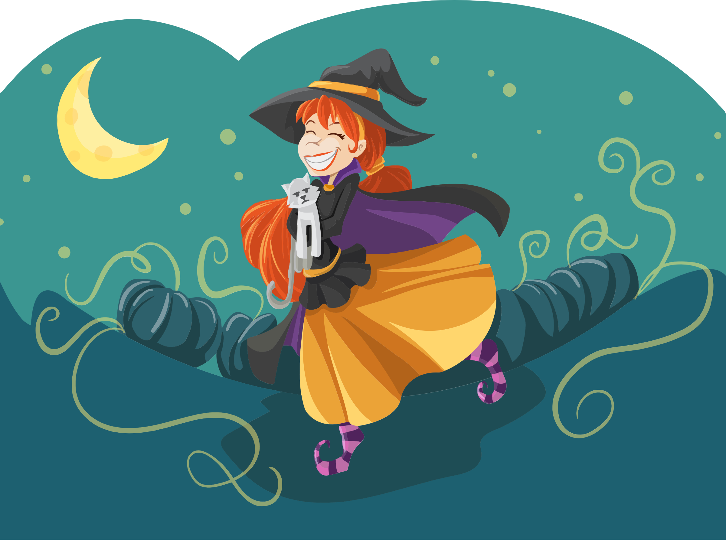 Happy Cartoon Witch by GDJ