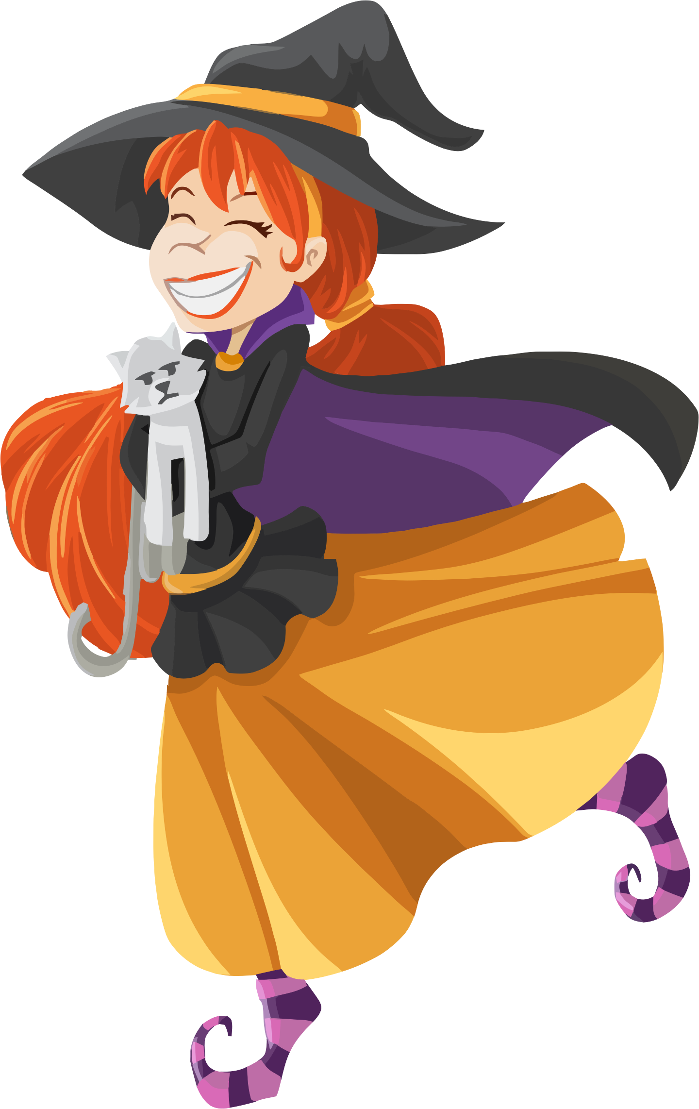 Happy Cartoon Witch Isolated by GDJ