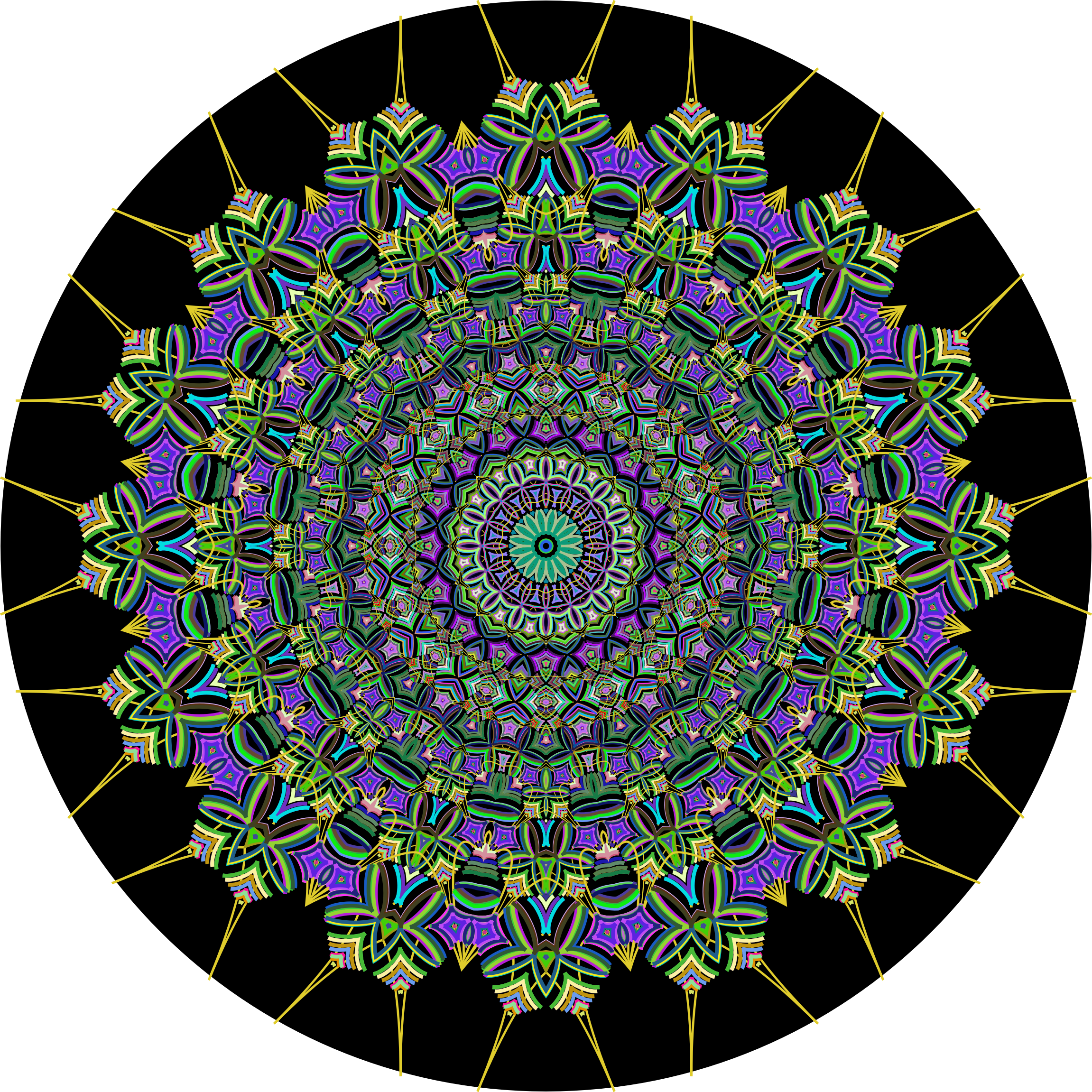 Prismatic Mandala Line Art 4 by GDJ