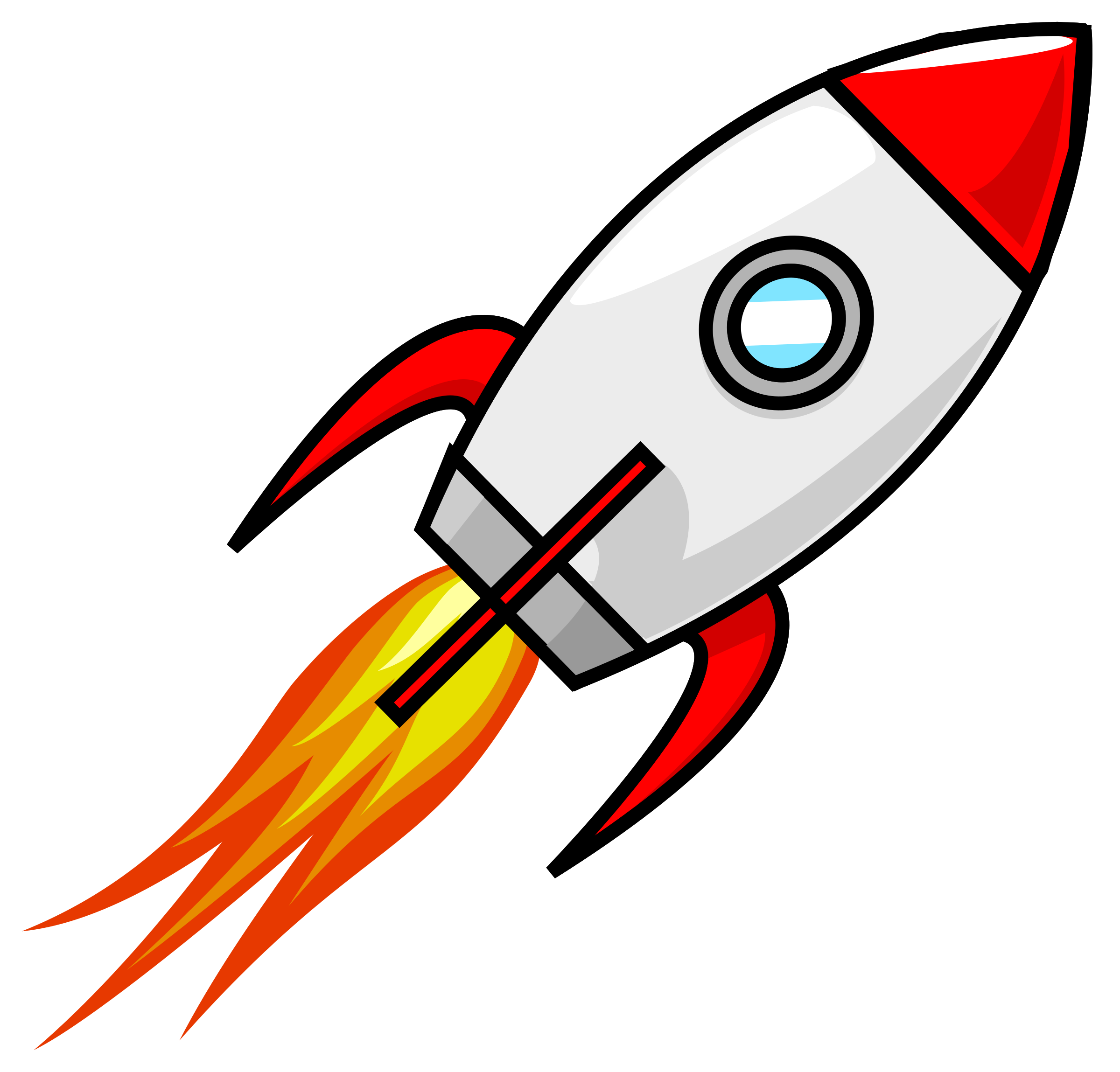 Clipart - Cartoon Moon Rocket Remix 2