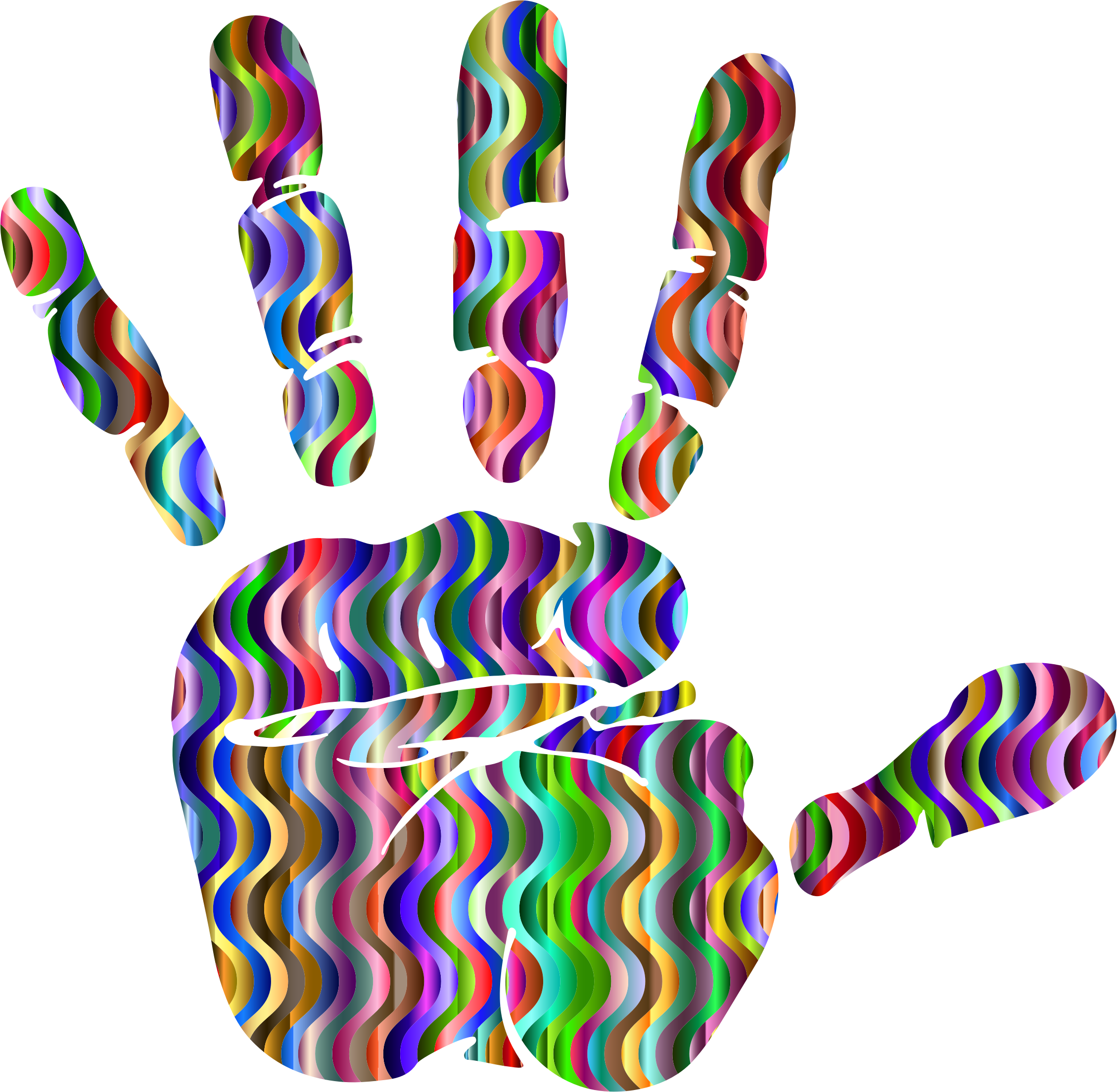 Prismatic Waves Handprint Silhouette 3 by GDJ