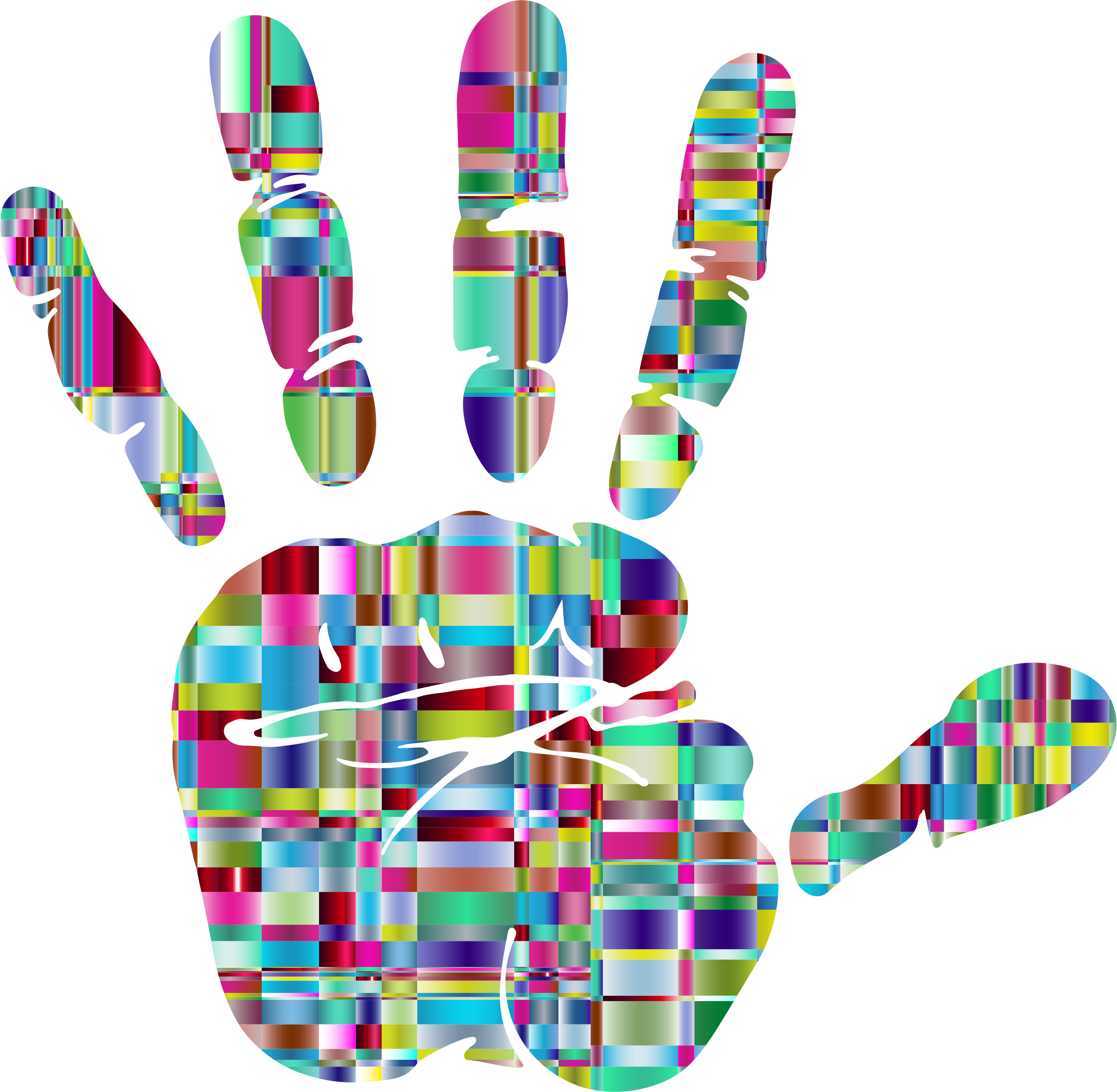 Prismatic Mosaic Handprint Silhouette by GDJ