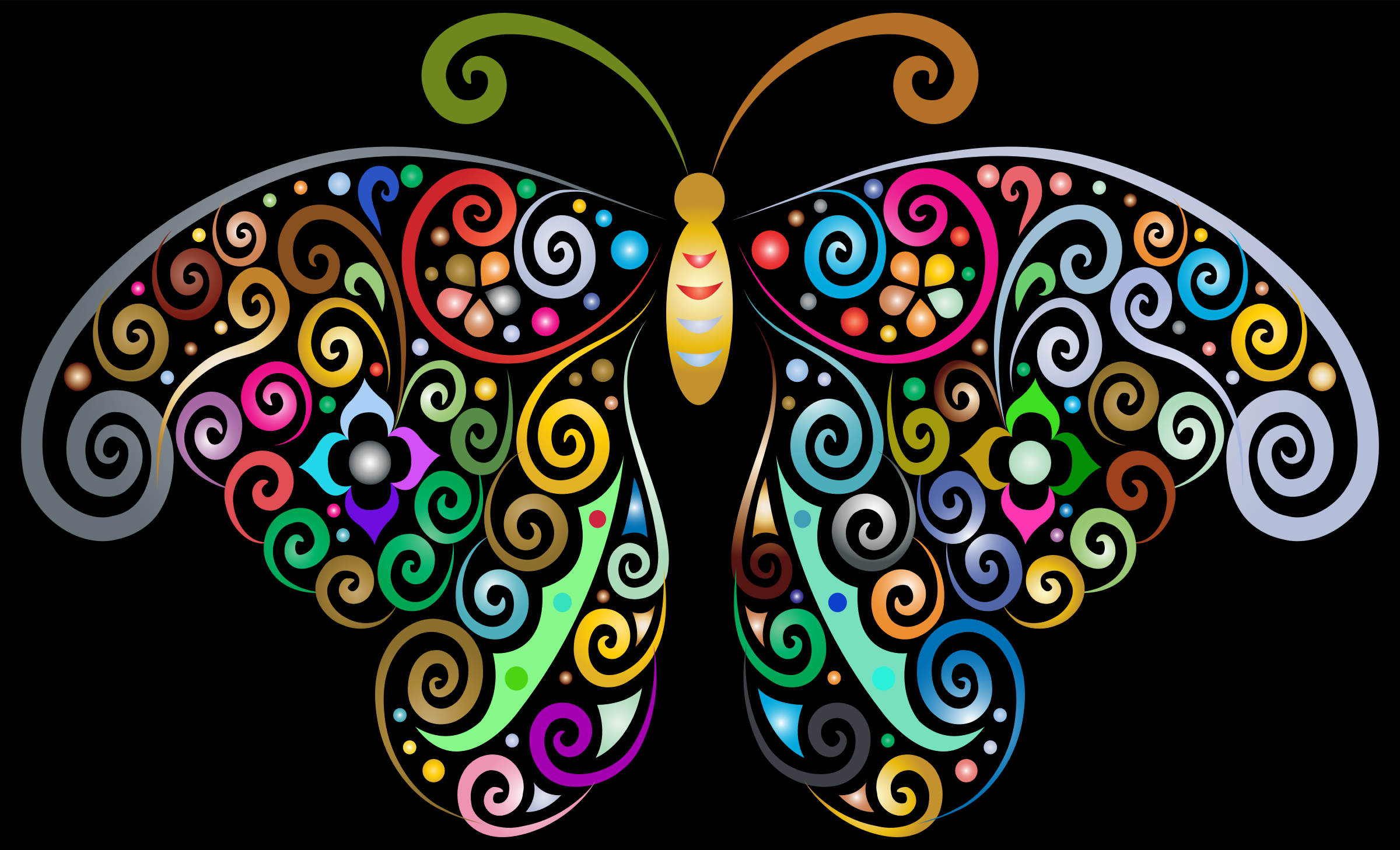 Prismatic Floral Flourish Butterfly Silhouette by GDJ