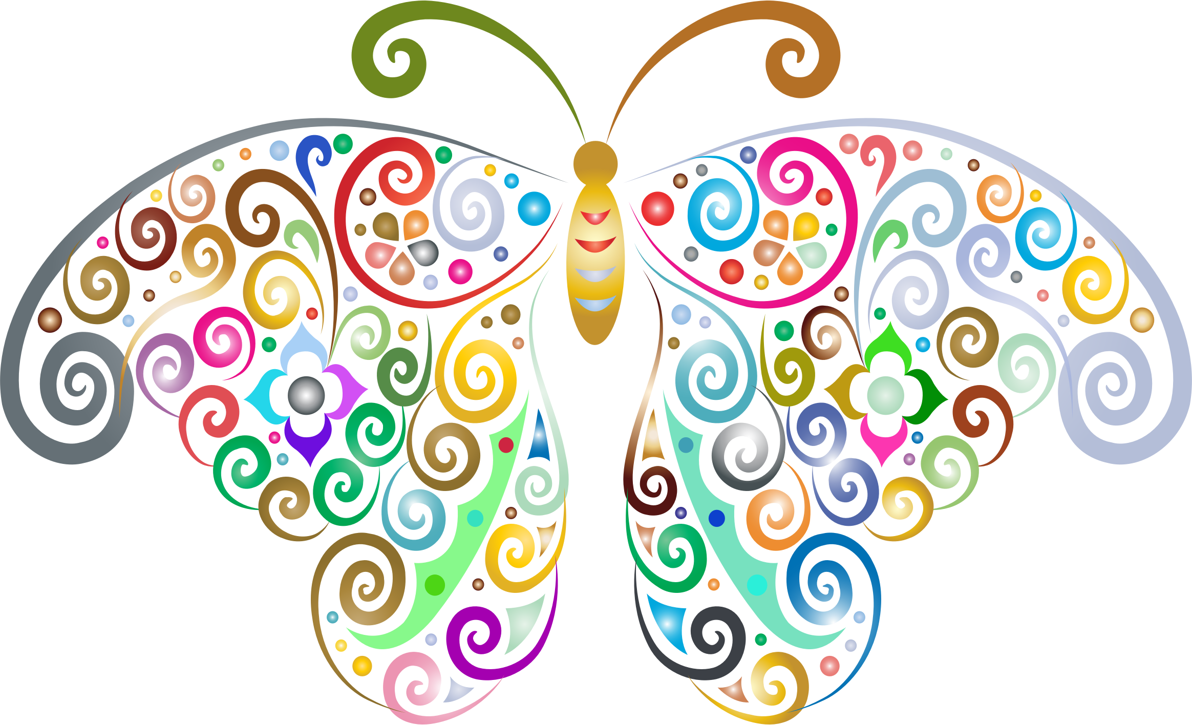 Clipart - Prismatic Floral Flourish Butterfly Silhouette ...