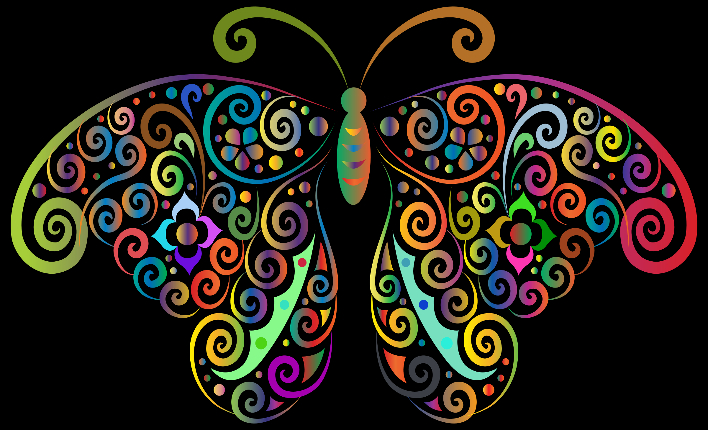 Prismatic Floral Flourish Butterfly Silhouette 2 by GDJ