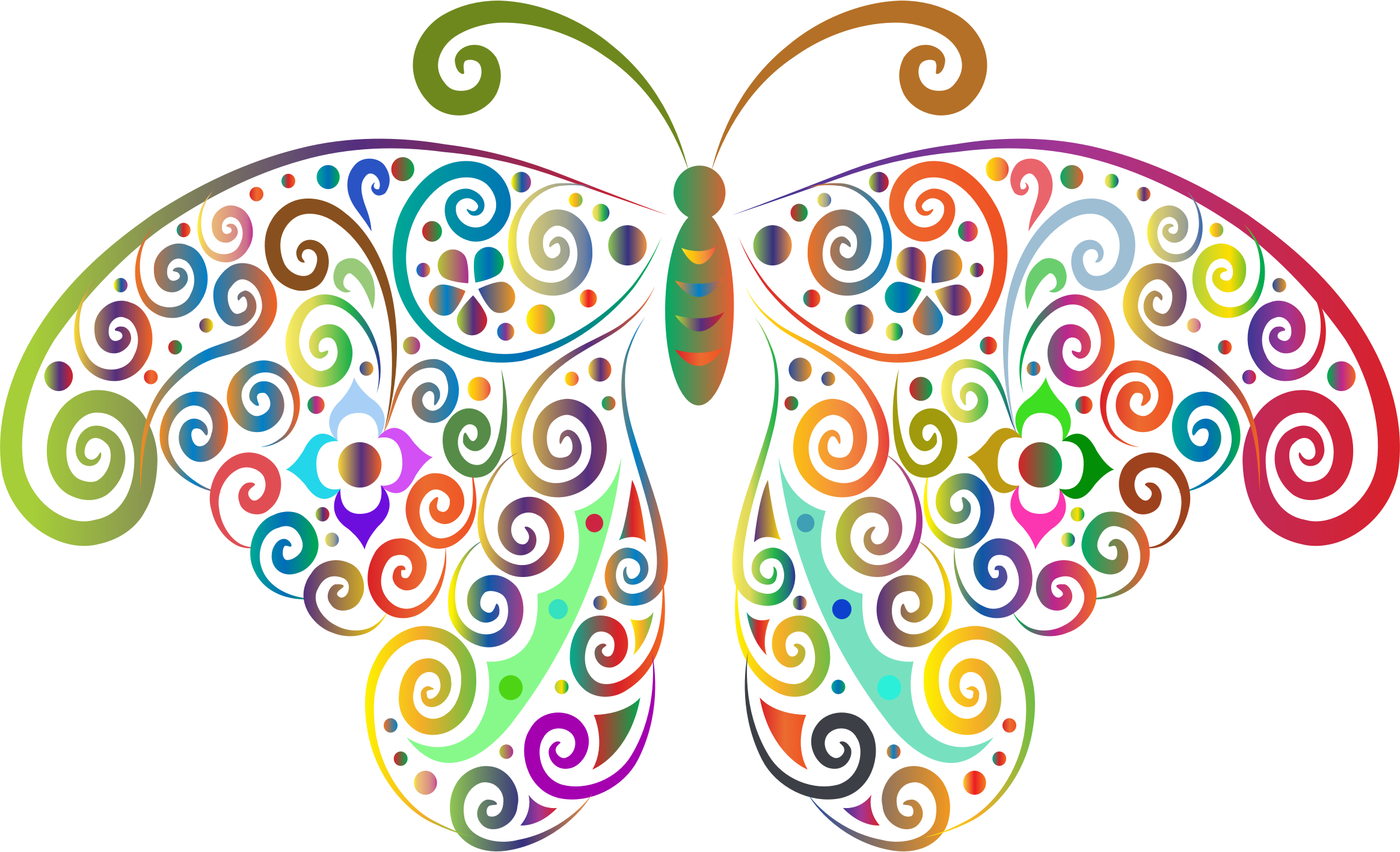 Prismatic Floral Flourish Butterfly Silhouette 2 No Background by GDJ