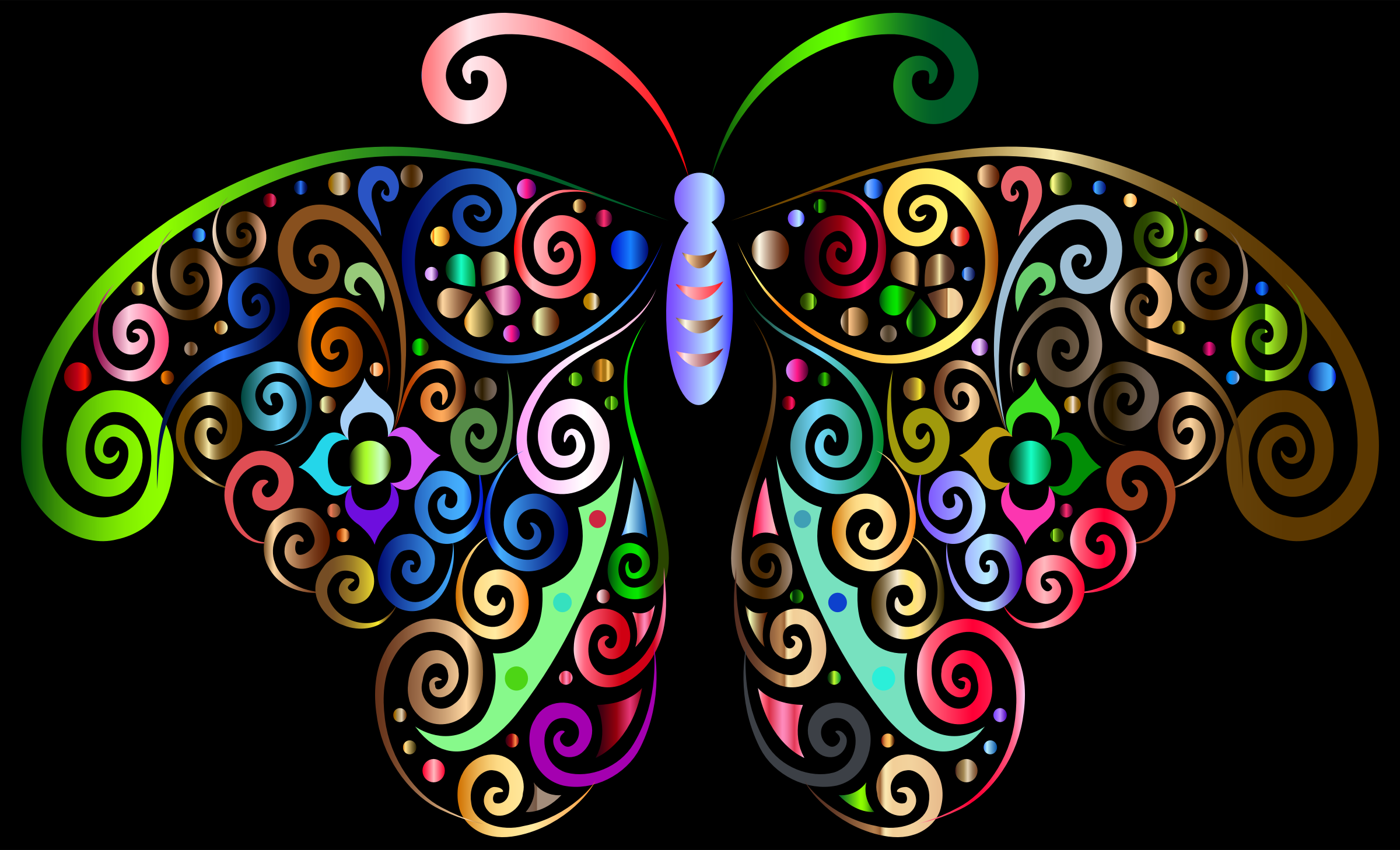 Prismatic Floral Flourish Butterfly Silhouette 3 by GDJ