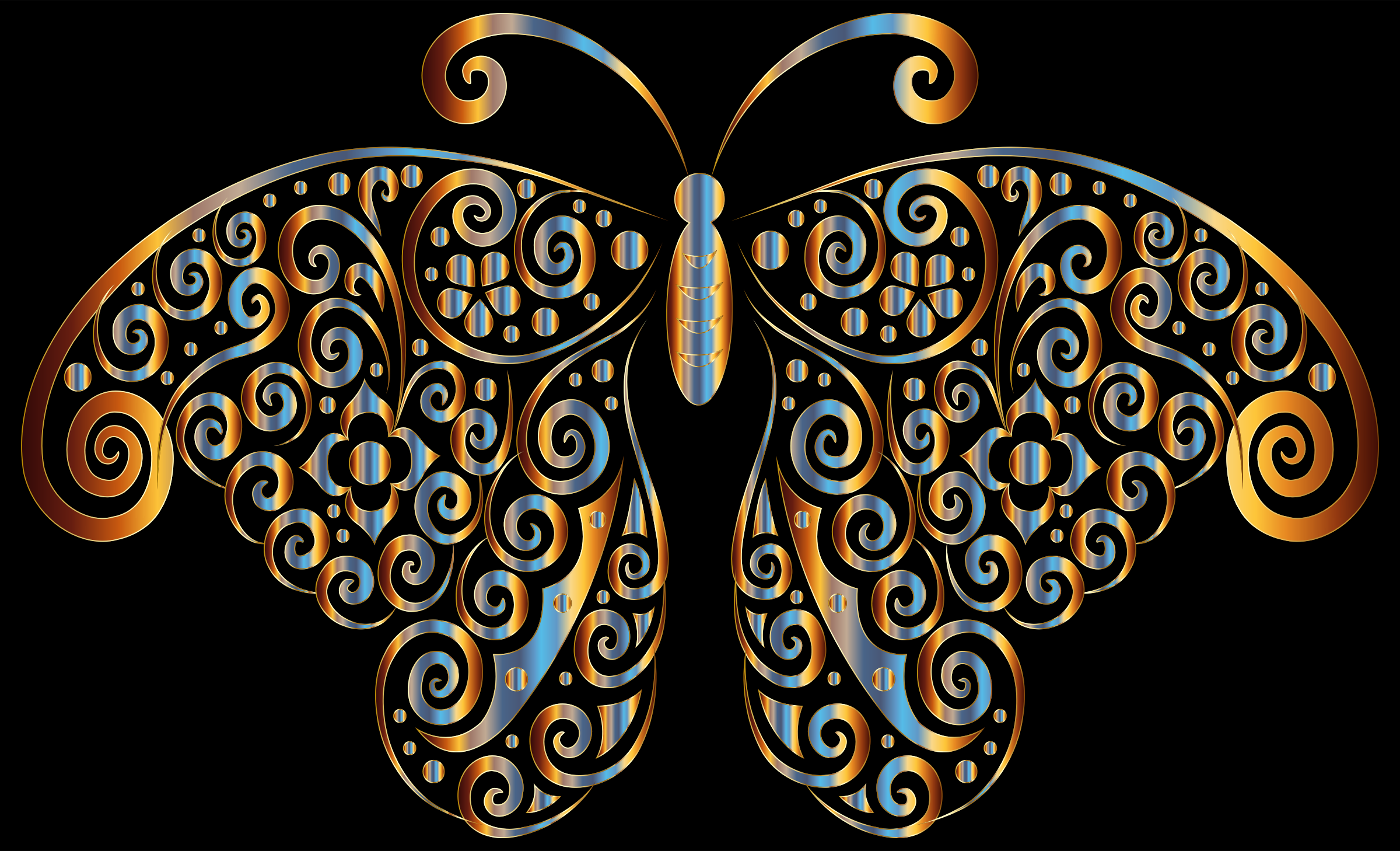 Prismatic Floral Flourish Butterfly Silhouette 5 by GDJ