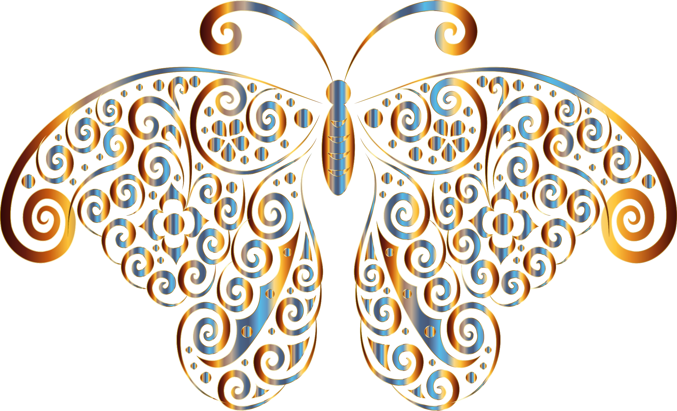 Prismatic Floral Flourish Butterfly Silhouette 5 No Background by GDJ