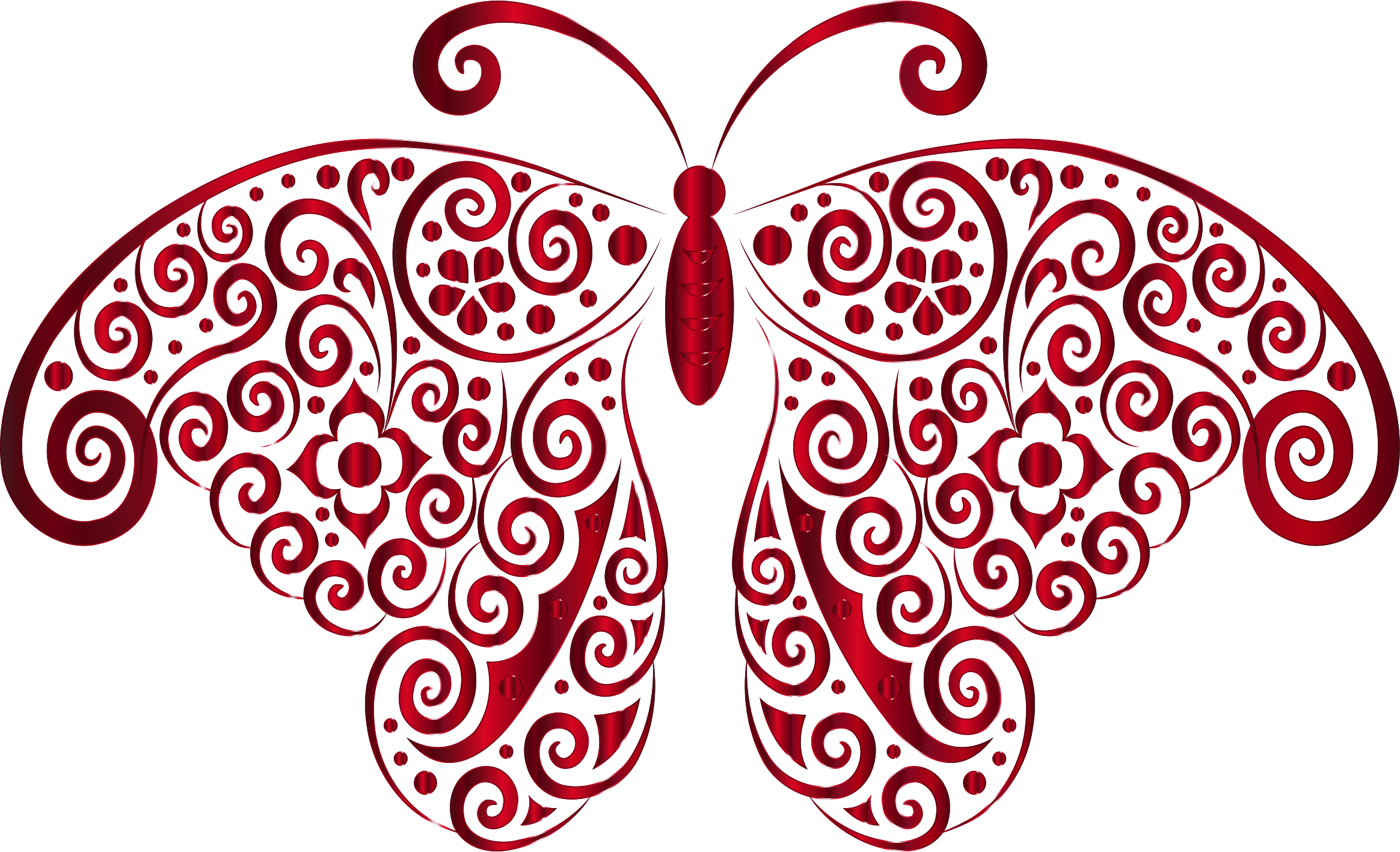 Prismatic Floral Flourish Butterfly Silhouette 6 No Background by GDJ