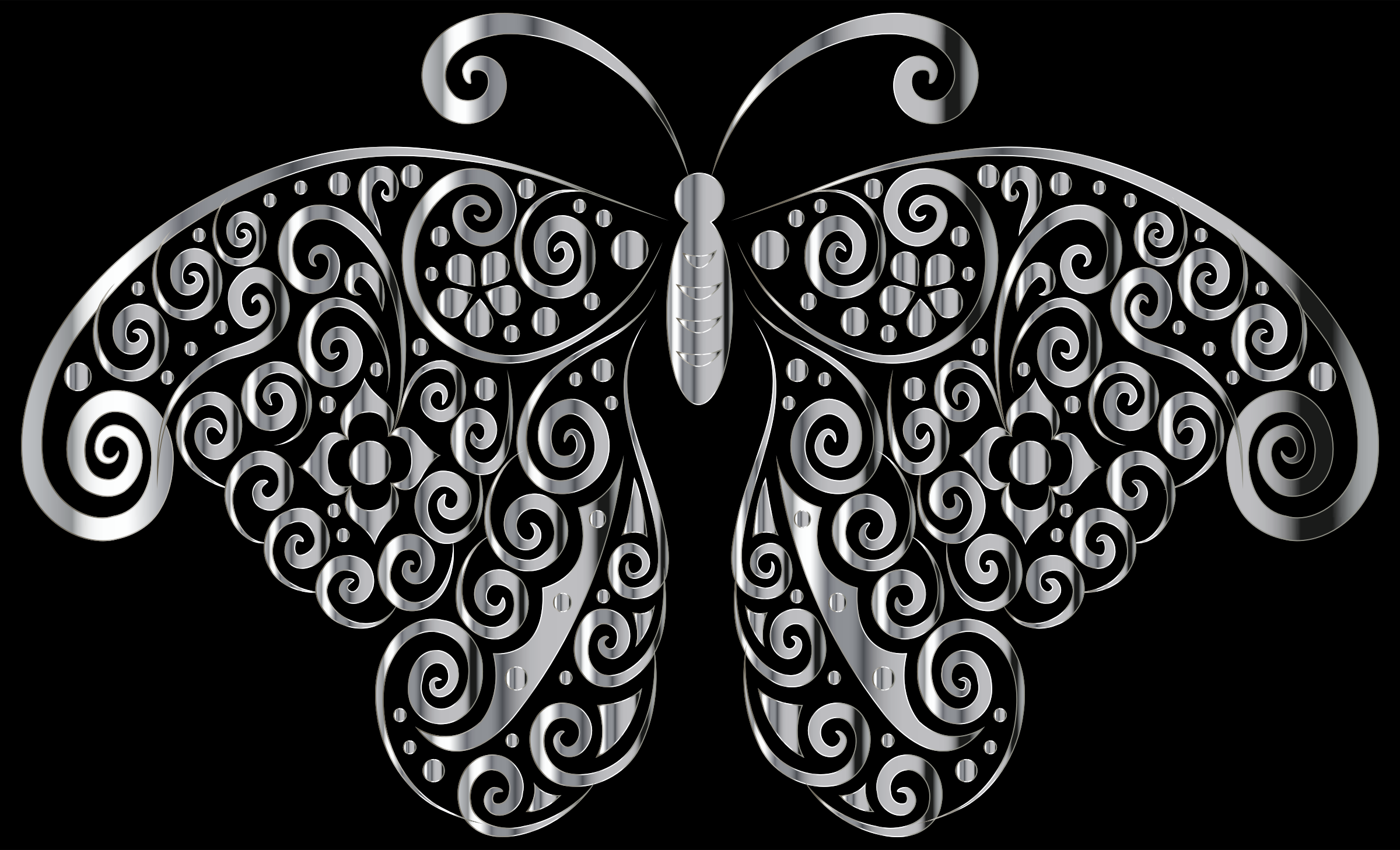 Chrome Floral Flourish Butterfly Silhouette by GDJ