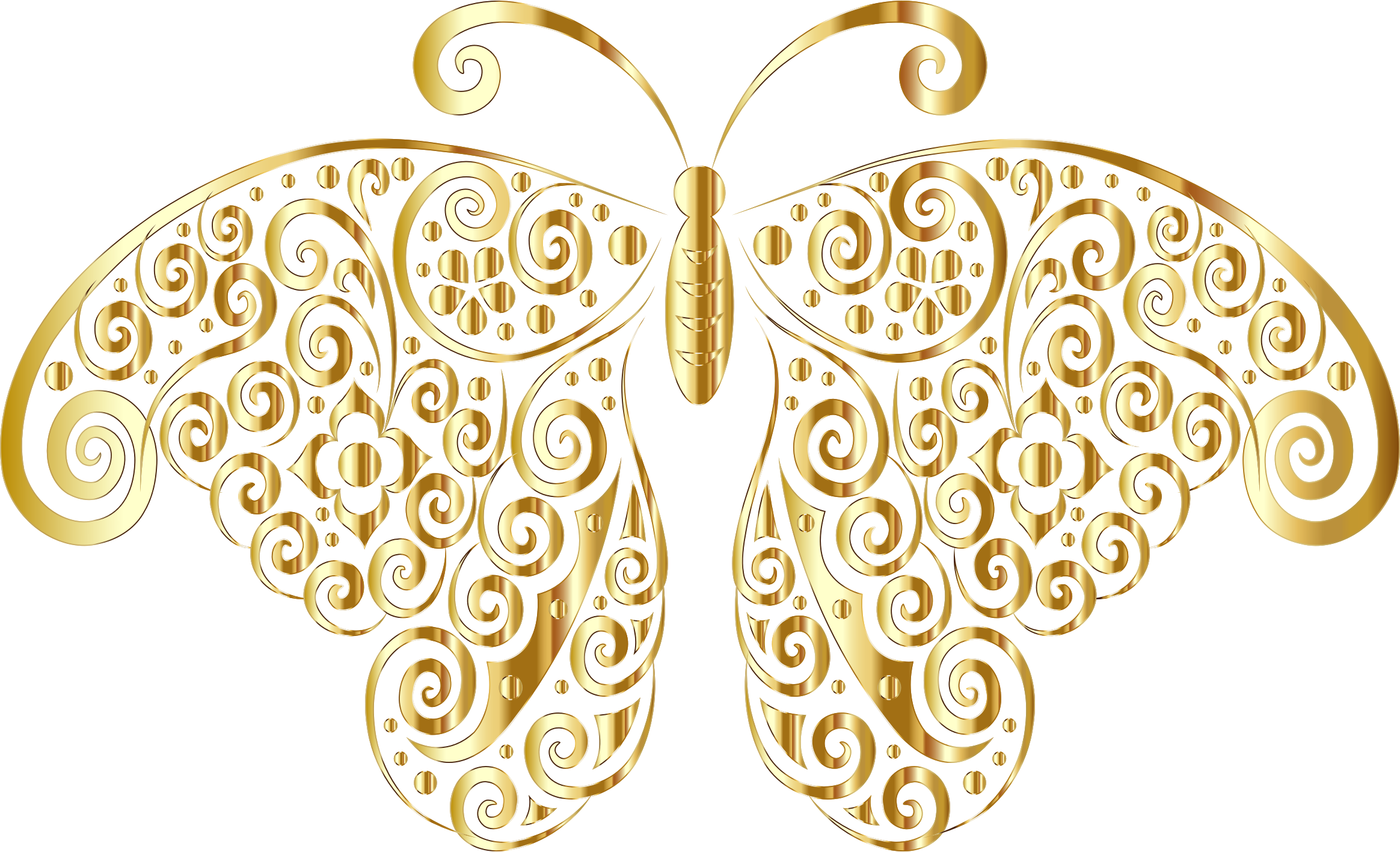 Gold Floral Flourish Butterfly Silhouette No Background by GDJ