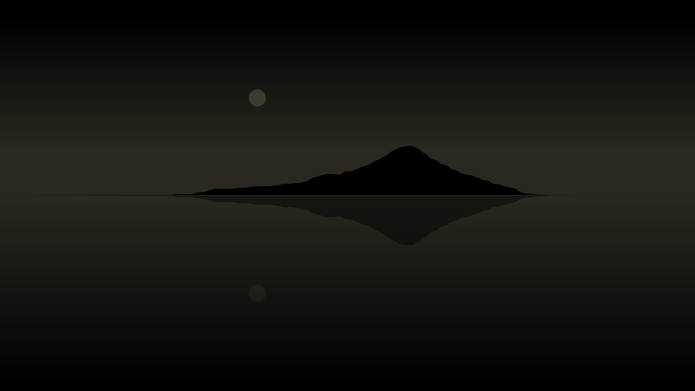 Suigetsu - Mount Fuji silhouette and moon reflected in water by CoD_fsfe