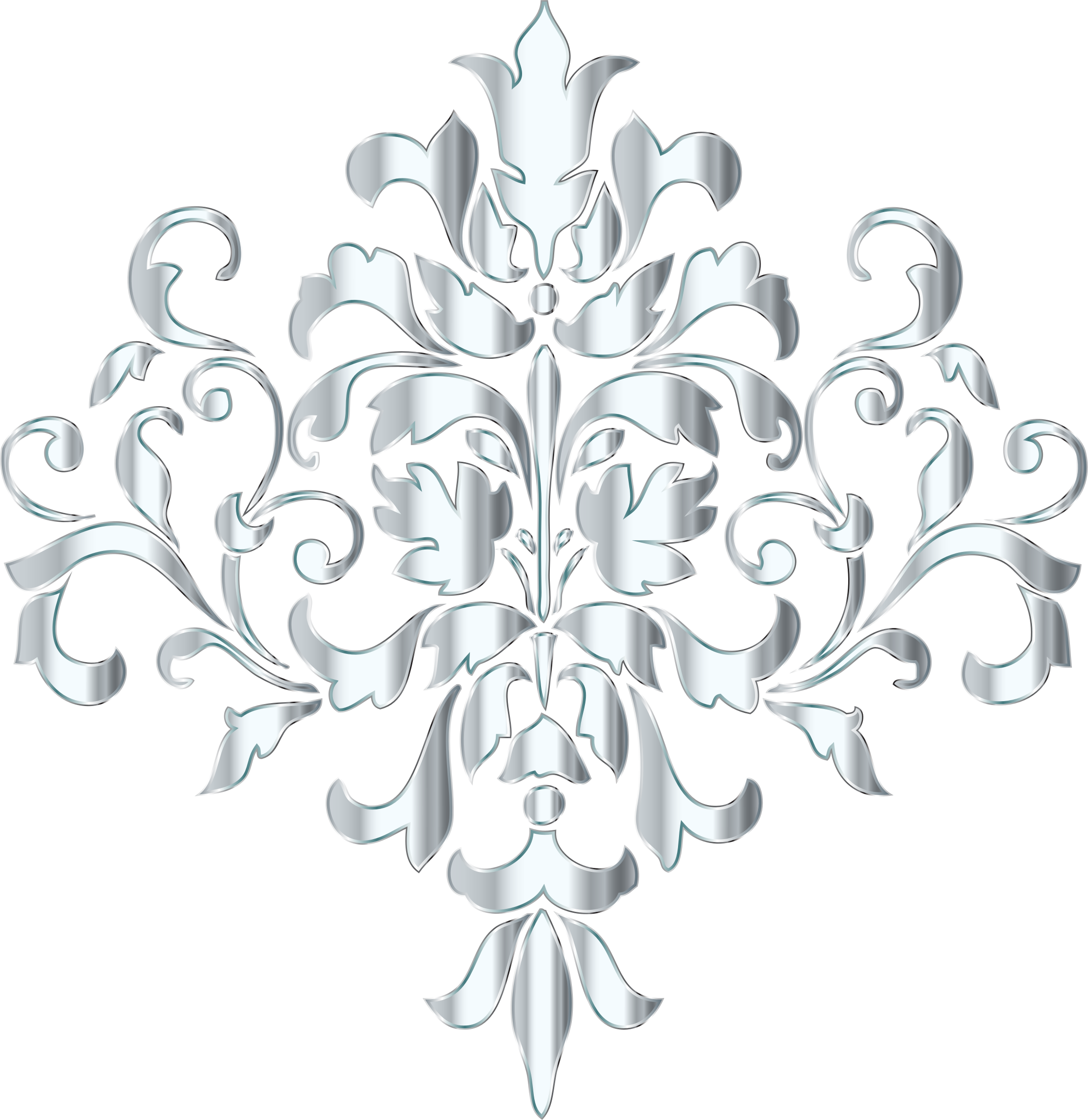 Silver Damask Design No Background by GDJ