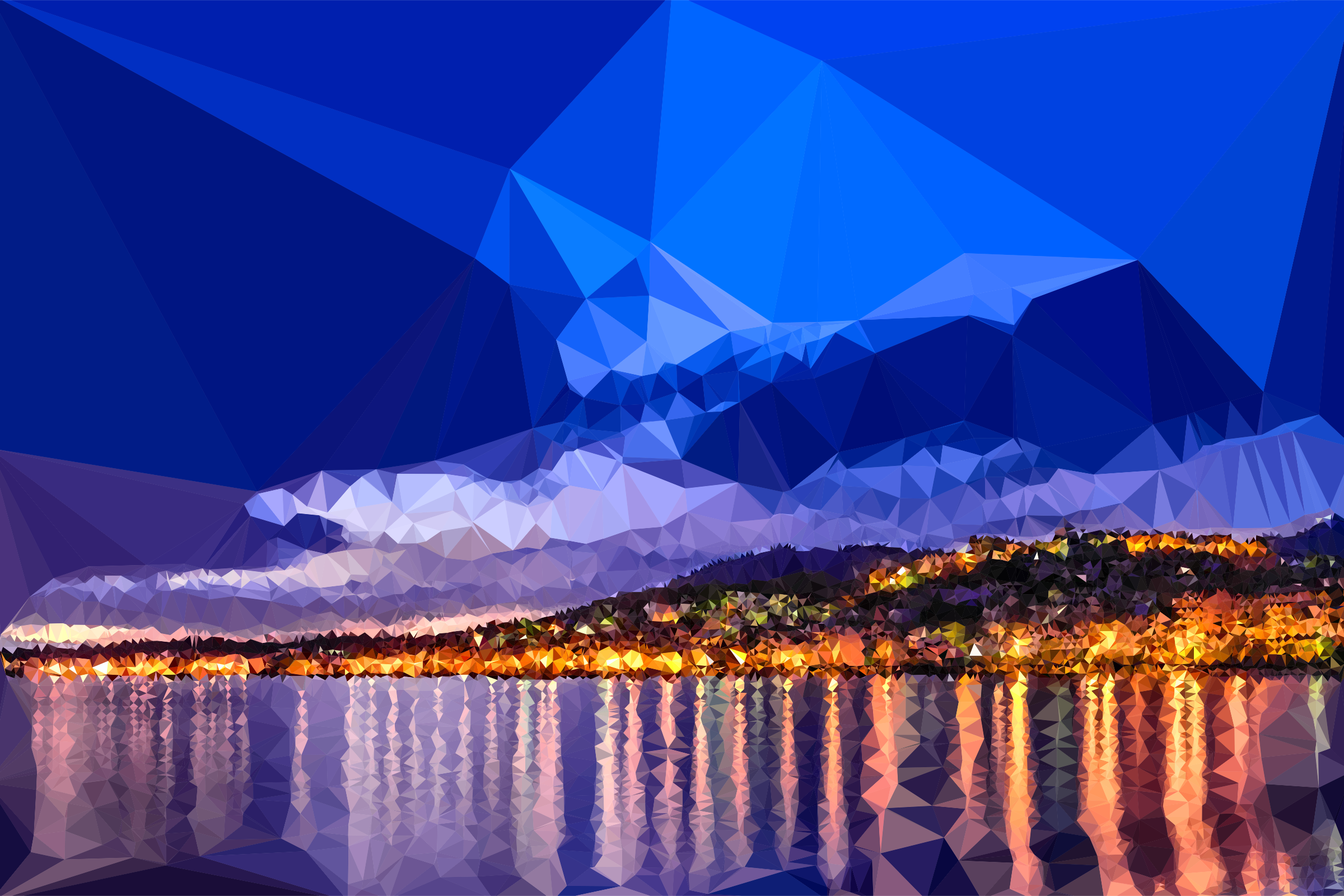 Low Poly Dawn In Calabria Italy by GDJ
