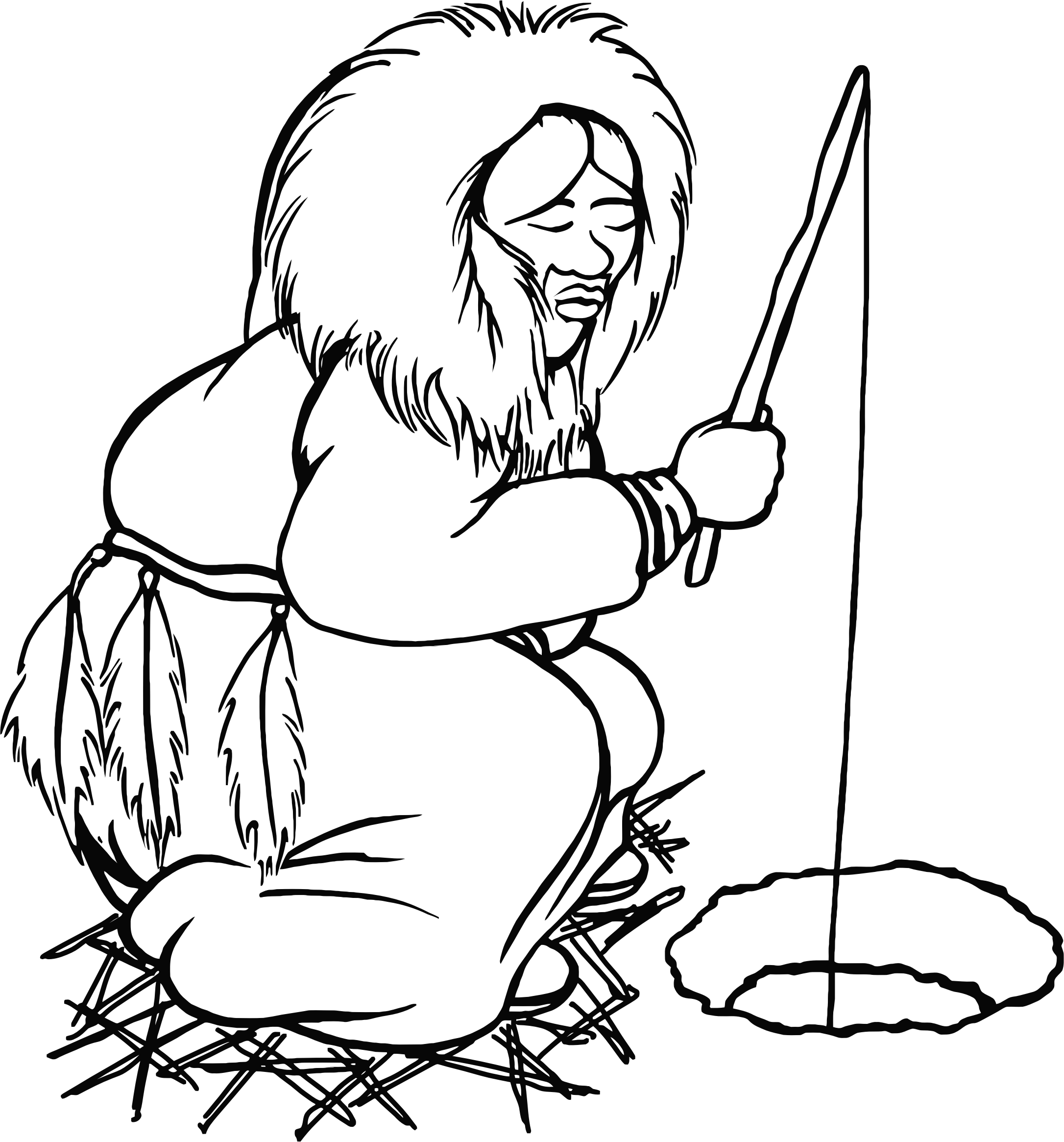 Eskimo Man Fishing Line Art by GDJ