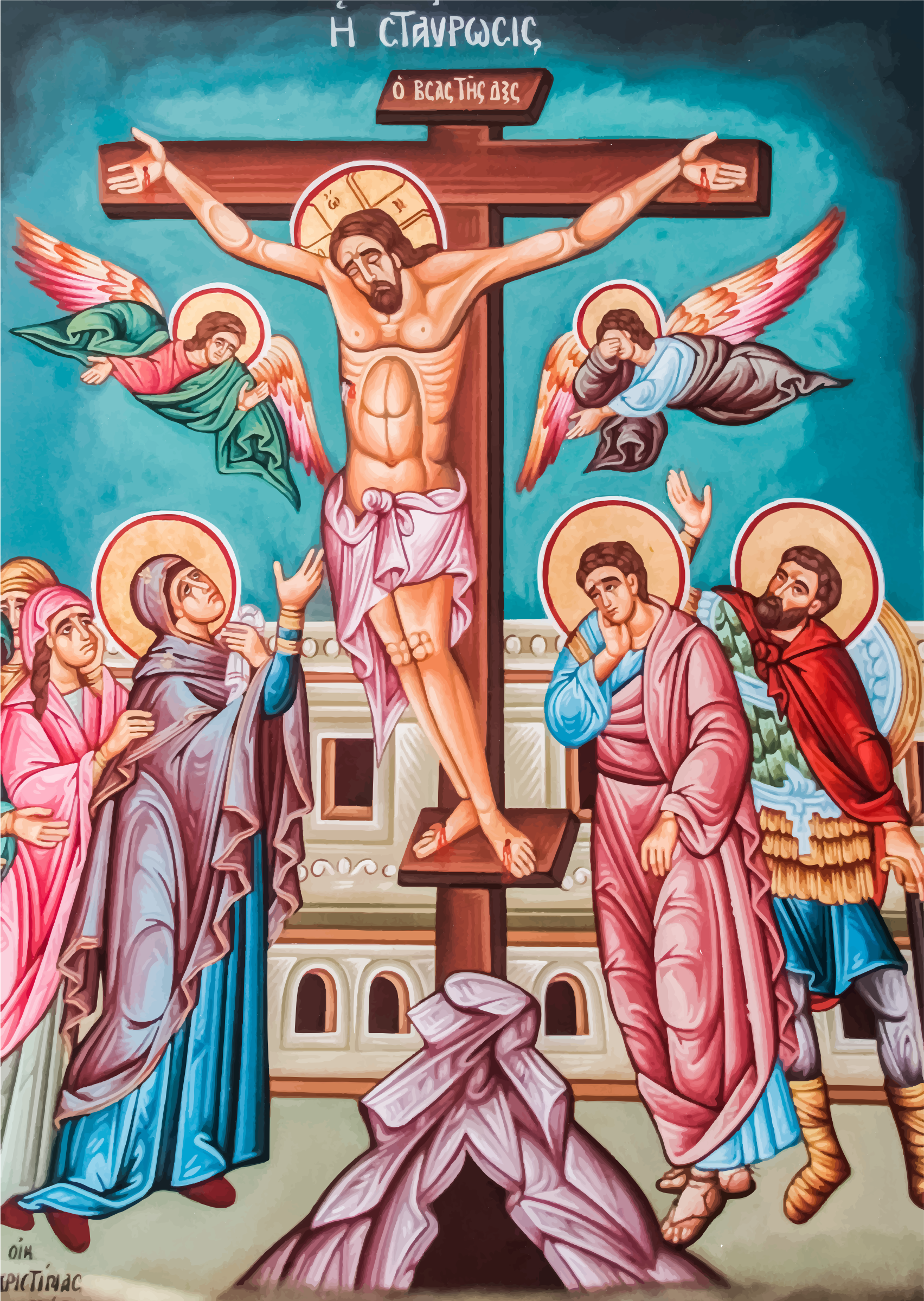 Clipart greek orthodox crucifixion of jesus christ mural greek orthodox crucifixion of jesus christ mural biocorpaavc Image collections