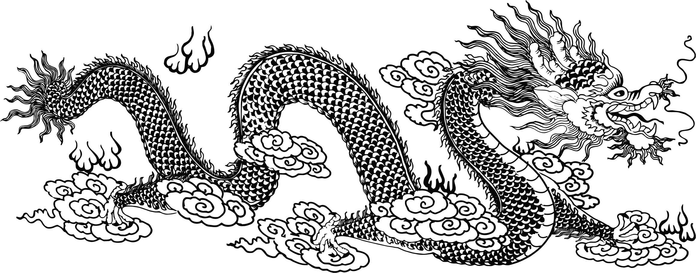 Asian Dragon Line Art by GDJ