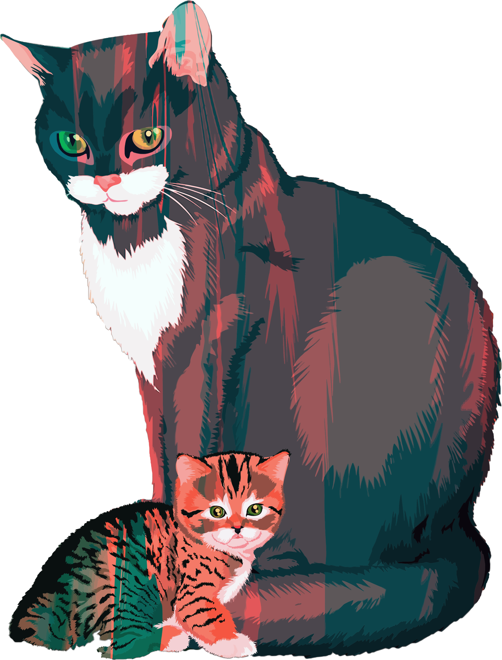 Kitten And Mother Illustration by GDJ