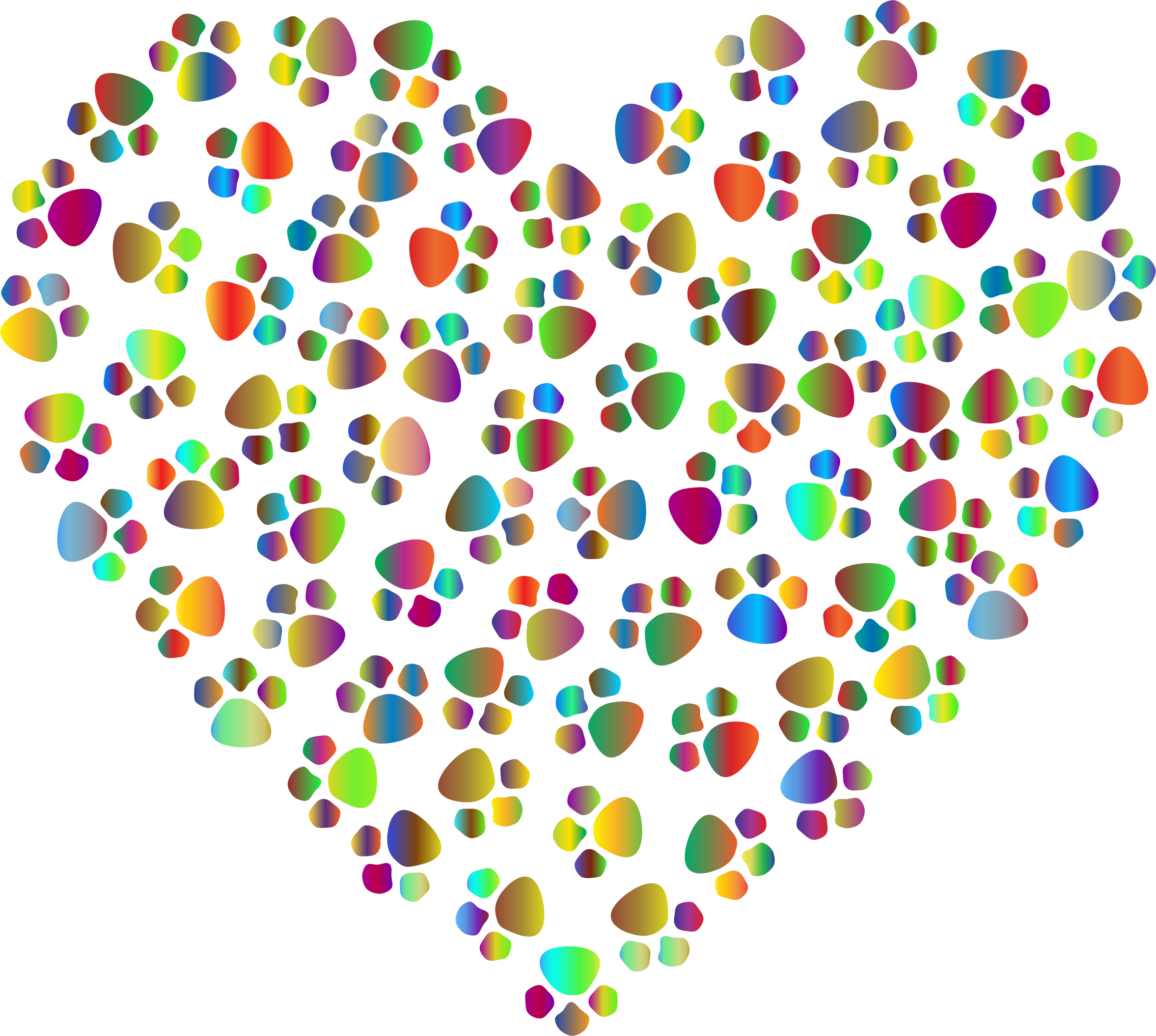 Prismatic Paw Prints Heart 4 by GDJ