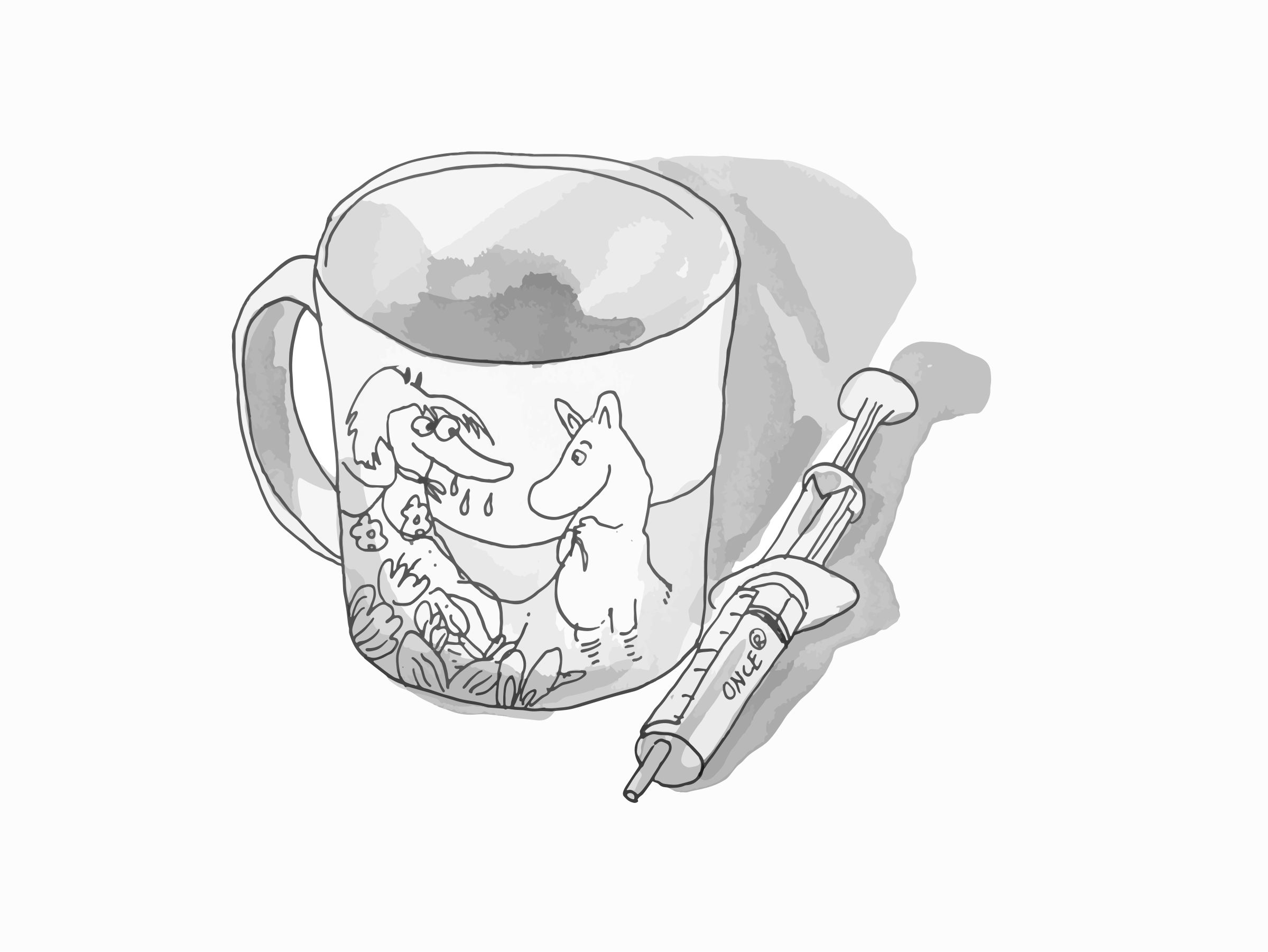 Moomin character cup and a syringe by ldezem
