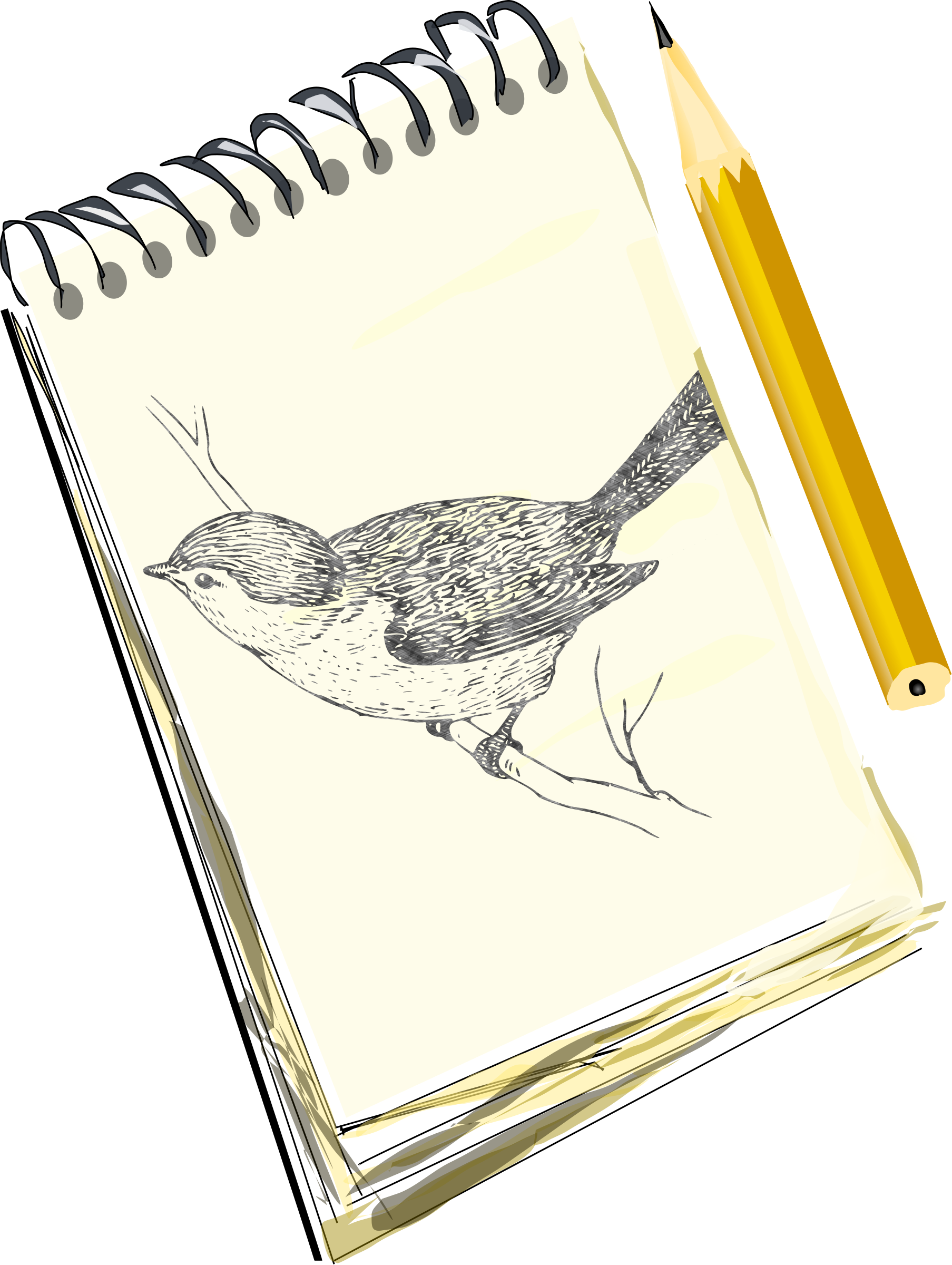 Sketchpad, with drawing of a bird by eady