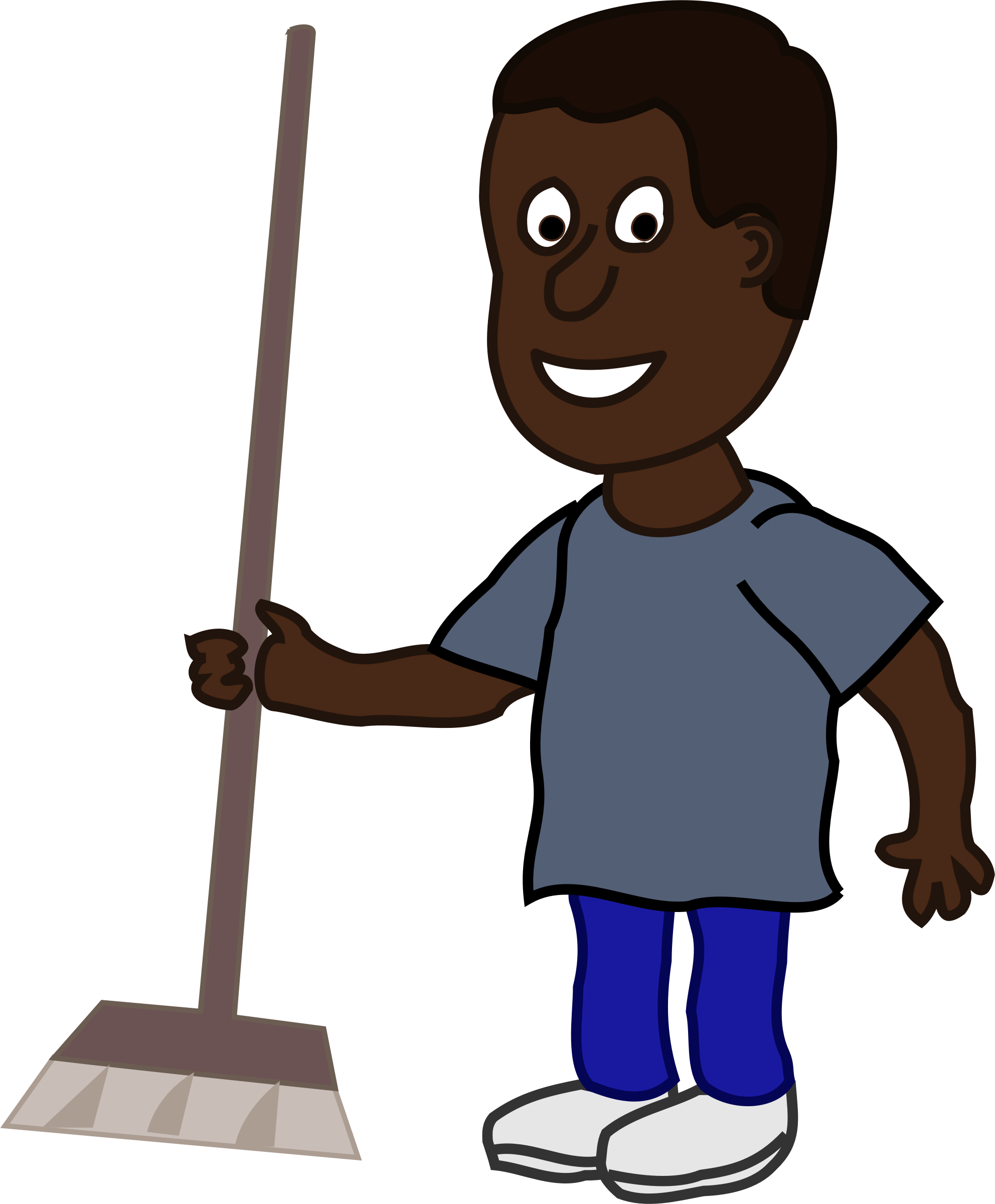 African Man with Broom by j4p4n
