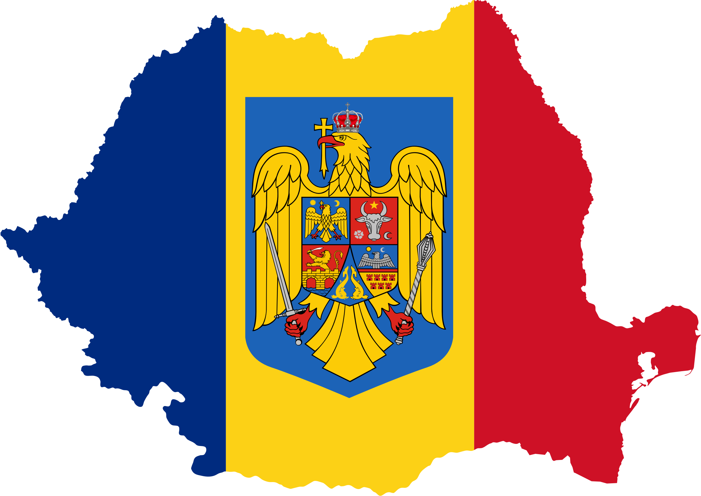 Romania Map Flag With Coat Of Arms by GDJ