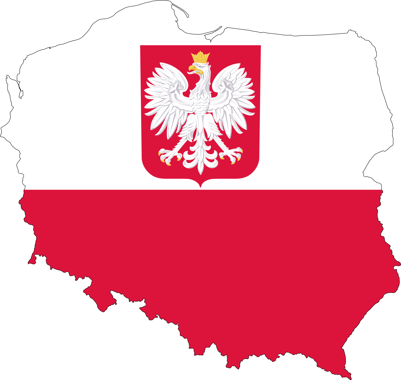 Poland Map Flag With Coat Of Arms by GDJ