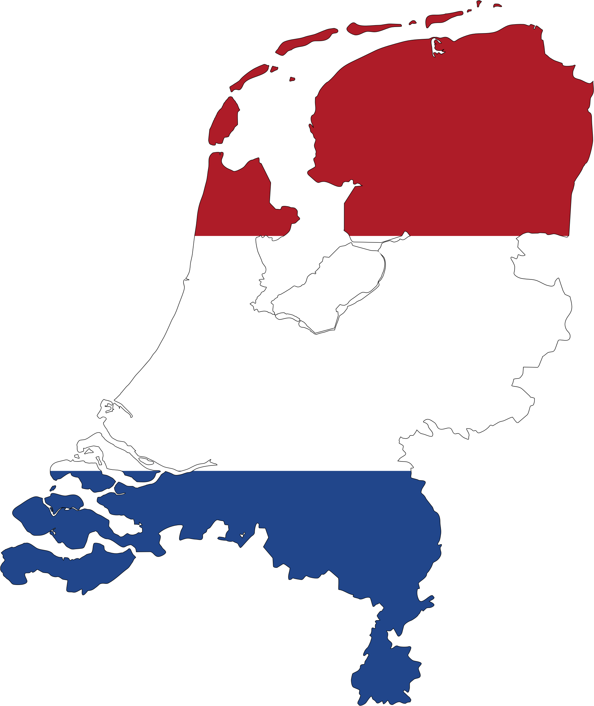 Clipart Netherlands Map Flag With Stroke - Netherlands map